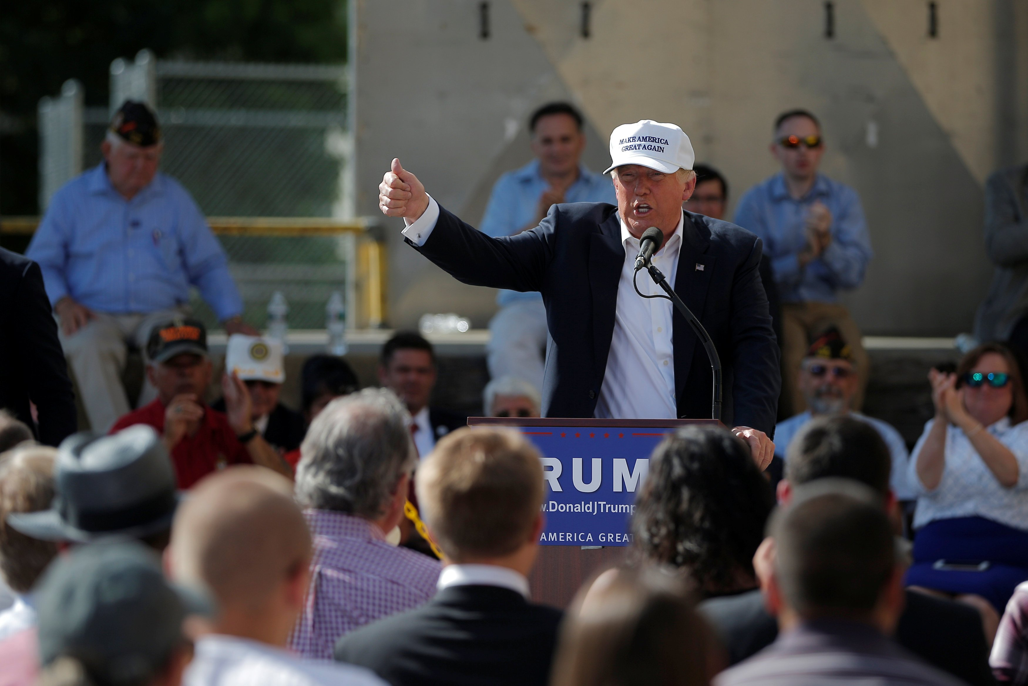 U.S. Republican presidential candidate Donald Trump speaks at a campaign town hall meeting outside a closed Osram Sylvania manufacturing facility in Manchester, New Hampshire June 30, 2016.