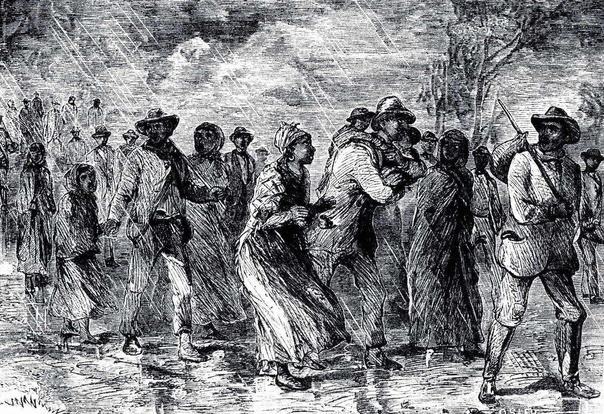 An engraving of fugitive slaves fleeing from Maryland to Delaware by way of the Underground Railroad, 1850-1851.