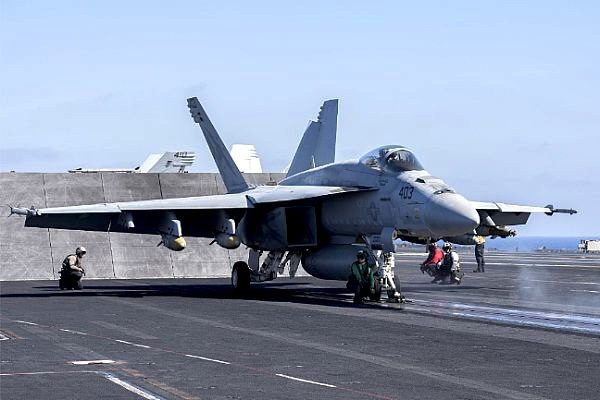 An F-18 readies for launch against ISIS from the USS Harry S. Truman in the Mediterranean Sea June 8.
