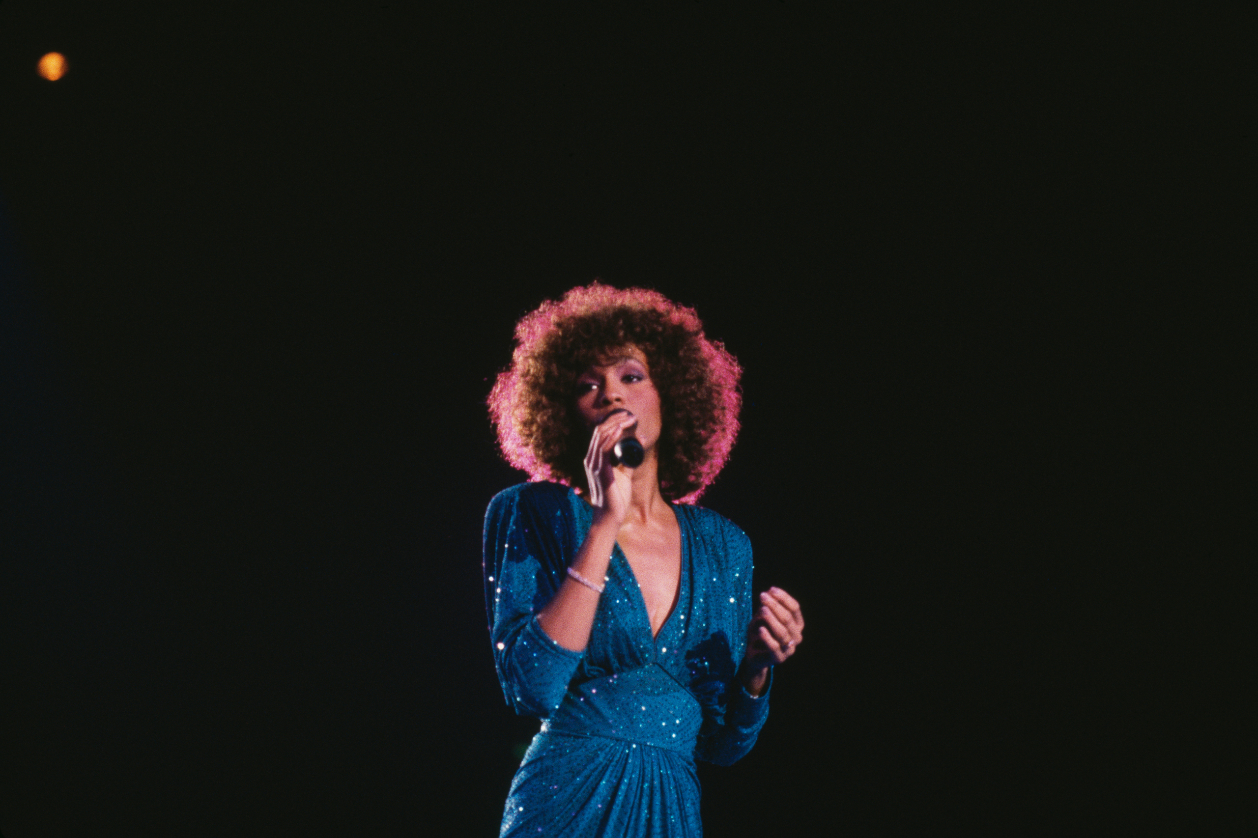 Whitney Houston in concert, circa 1986.