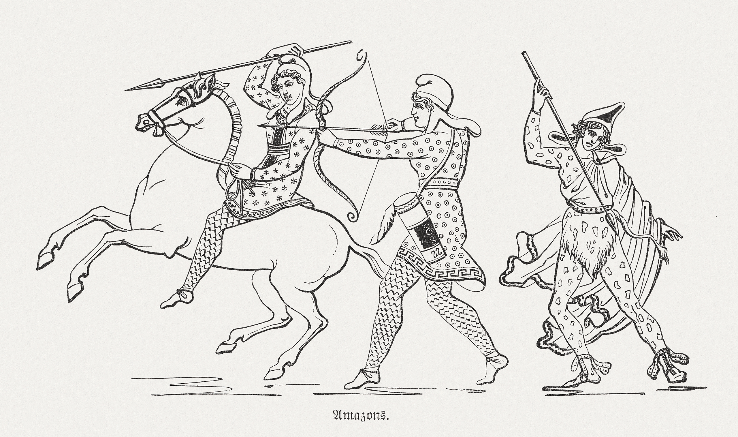 Amazon queen and amazons depicted in a wood engraving, 1880.