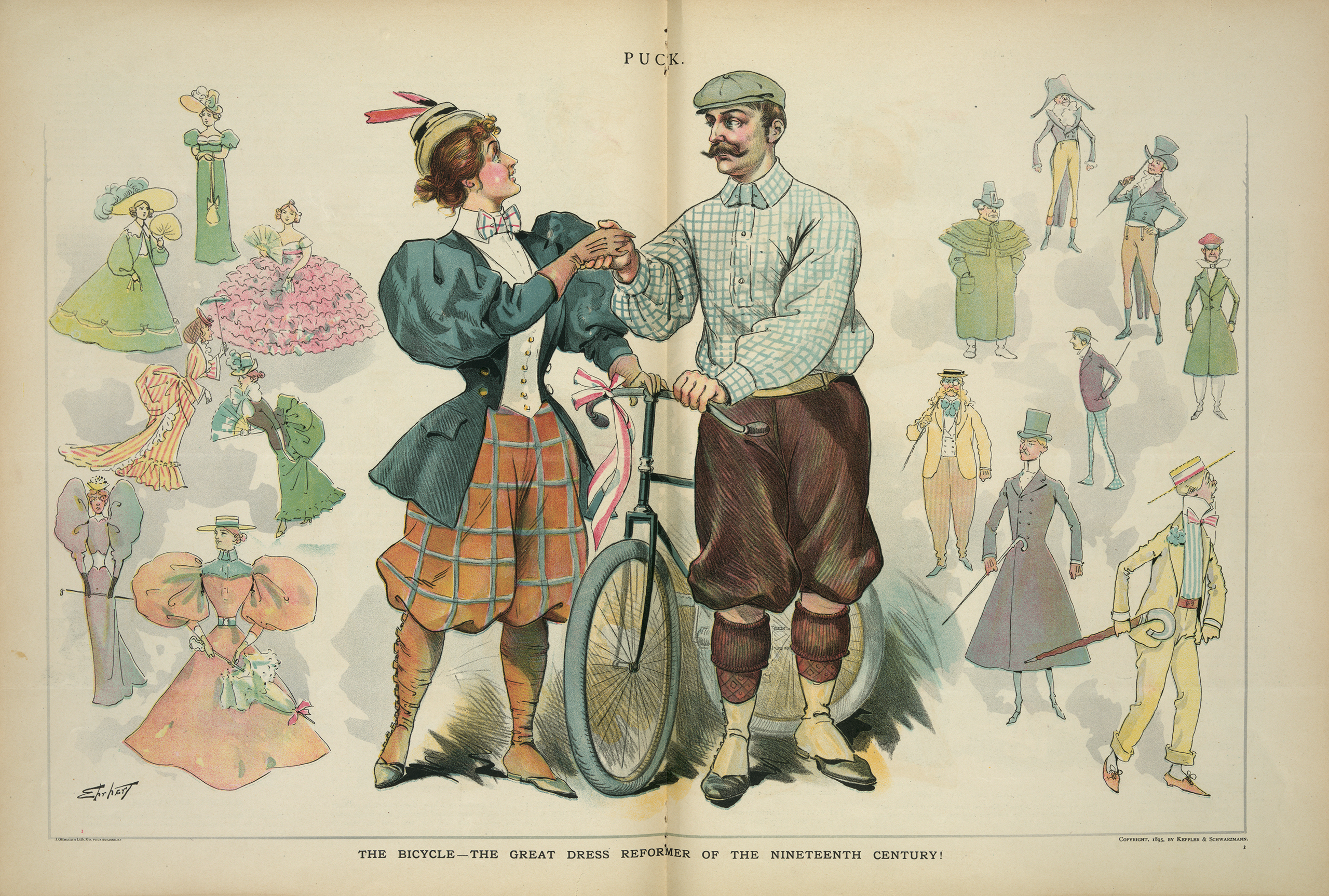 An Illustration from Puck shows a man and a woman wearing knickers and bloomers, standing with a bicycle between them, shaking hands; to the right and left are examples of 19th century fashion, Aug. 7, 1895.
