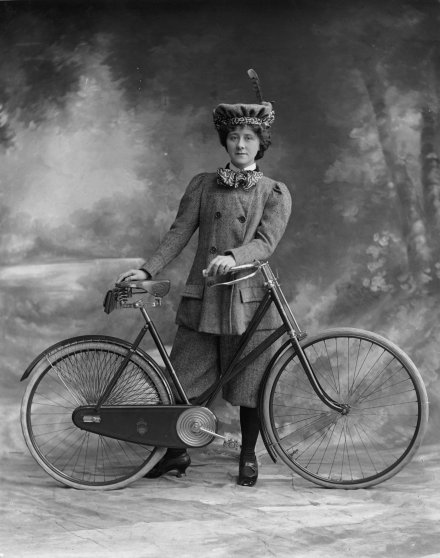 Miss Alice Hughes in 'A Professor's Love Story'. Victorian women's fashion was revolutionized with the arrival of the safety cycle in 1884.