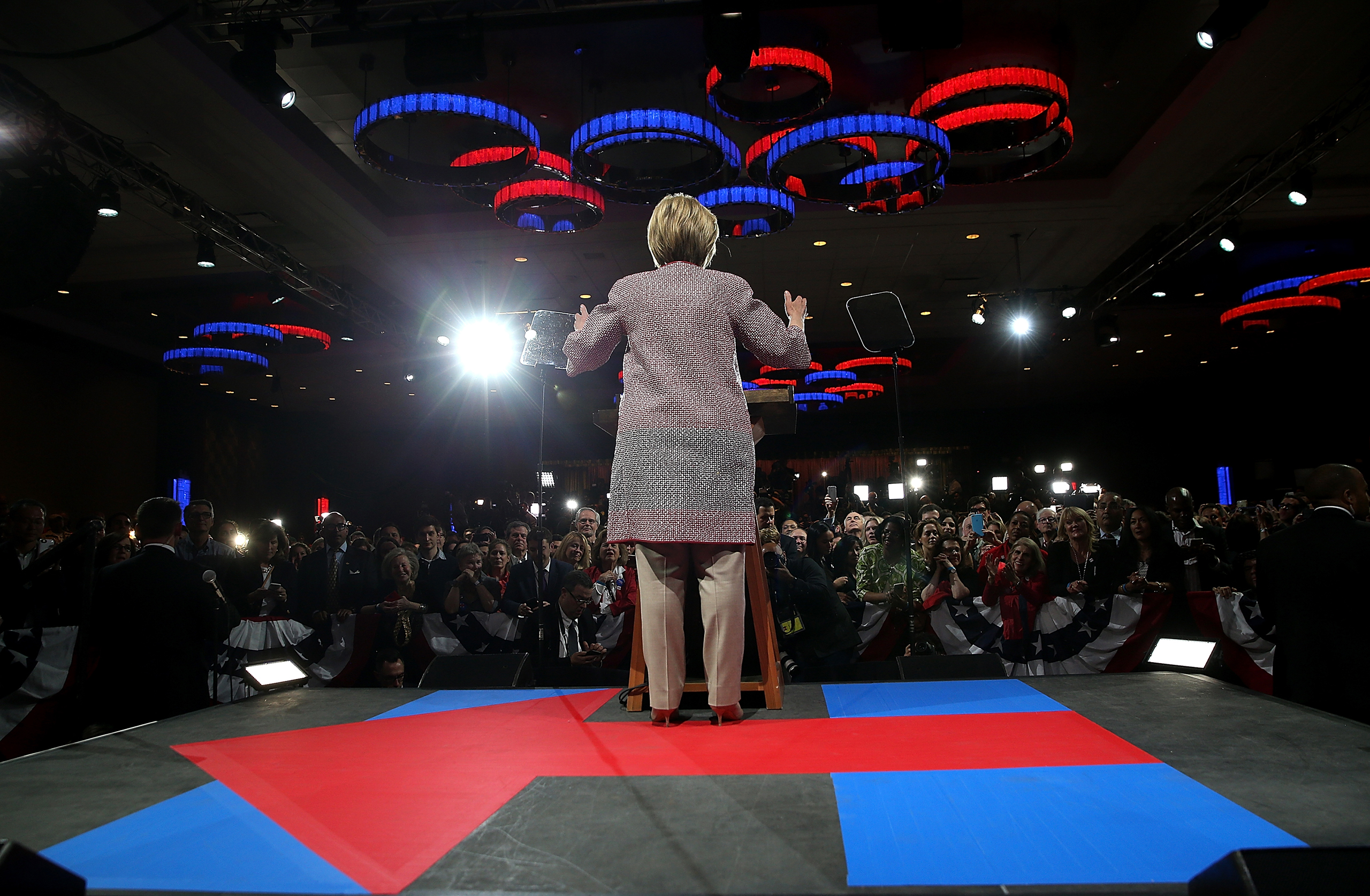 Hillary Clinton speaks during a primary election night gathering in New York City on April 19, 2016.