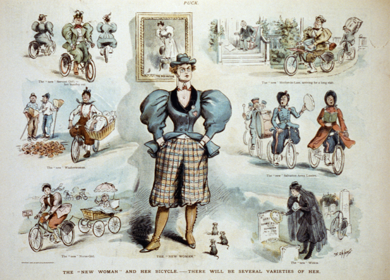 An Illustration from Puck shows  The 'new woman'  standing at center, wearing pantaloons. The surrounding vignettes show women riding bicycles, June 19, 1895.