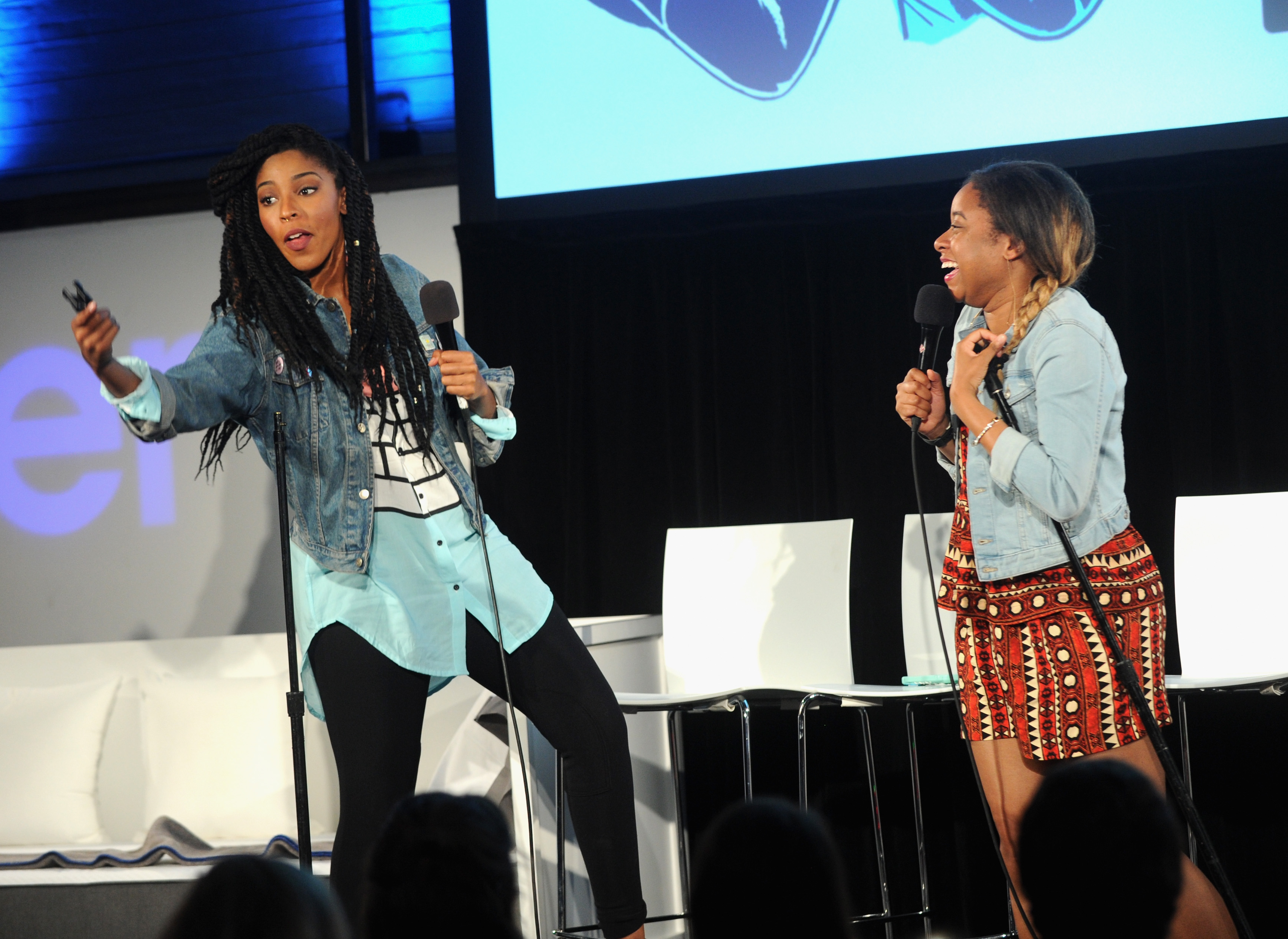 Comedians Jessica Williams and Phoebe Robinson perform onstage during the 2 Dope Queens podcast at the Vulture Festival Casper Podcast Lounge at Highline Stages on May 22, 2016 in New York City.