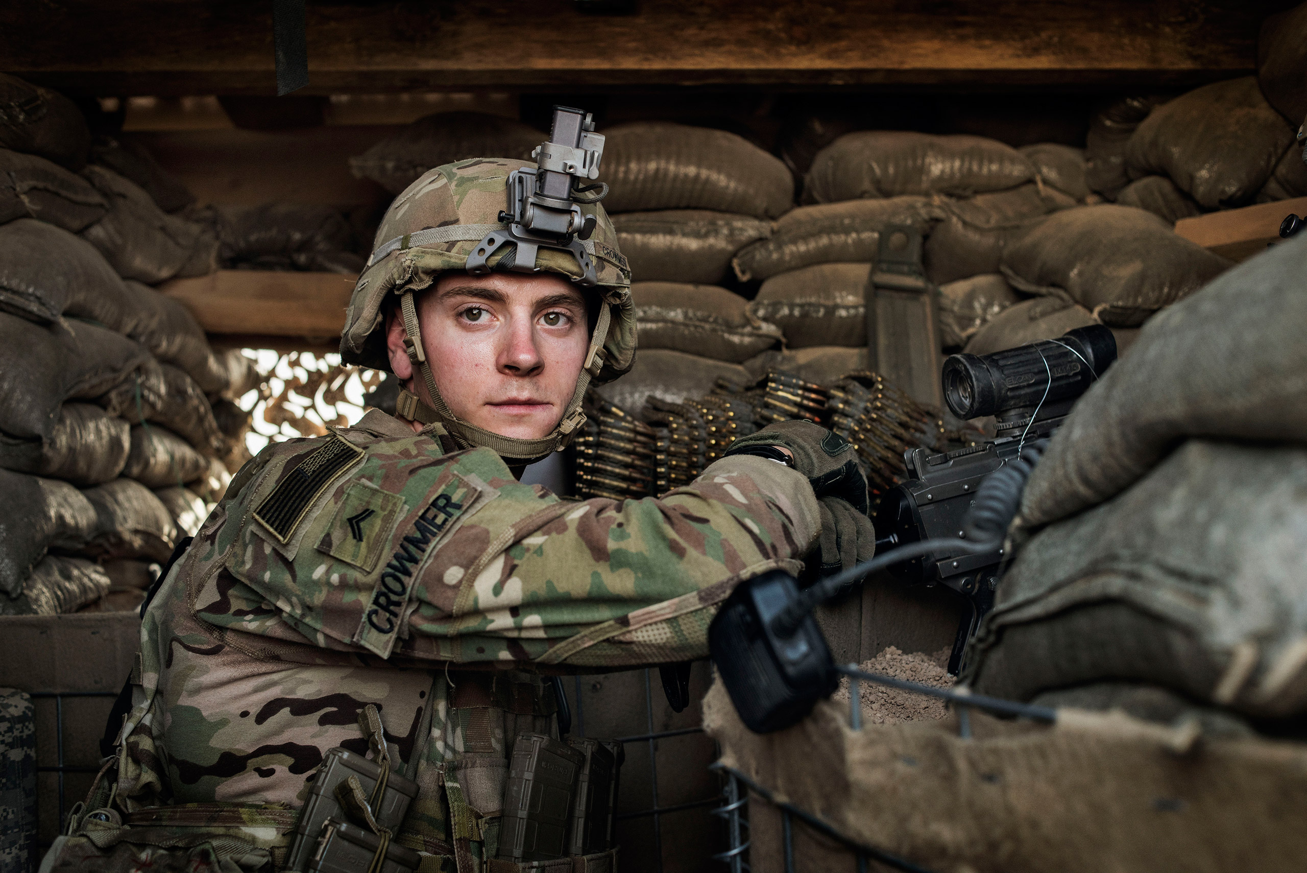 A U.S. Army soldier John Crowmer, 23, from Noblesville, IN, guards the U.S. military base at Camp Swift, near the Iraqi town of Makhmour, May 17, 2016. As of April, at least 4,087 U.S. military personnel were deployed in Iraq, many of them backing Iraqi forces in the drive to reclaim territory from ISIS.From  Yuri Kozyrev: On the Front Lines of the War Against ISIS