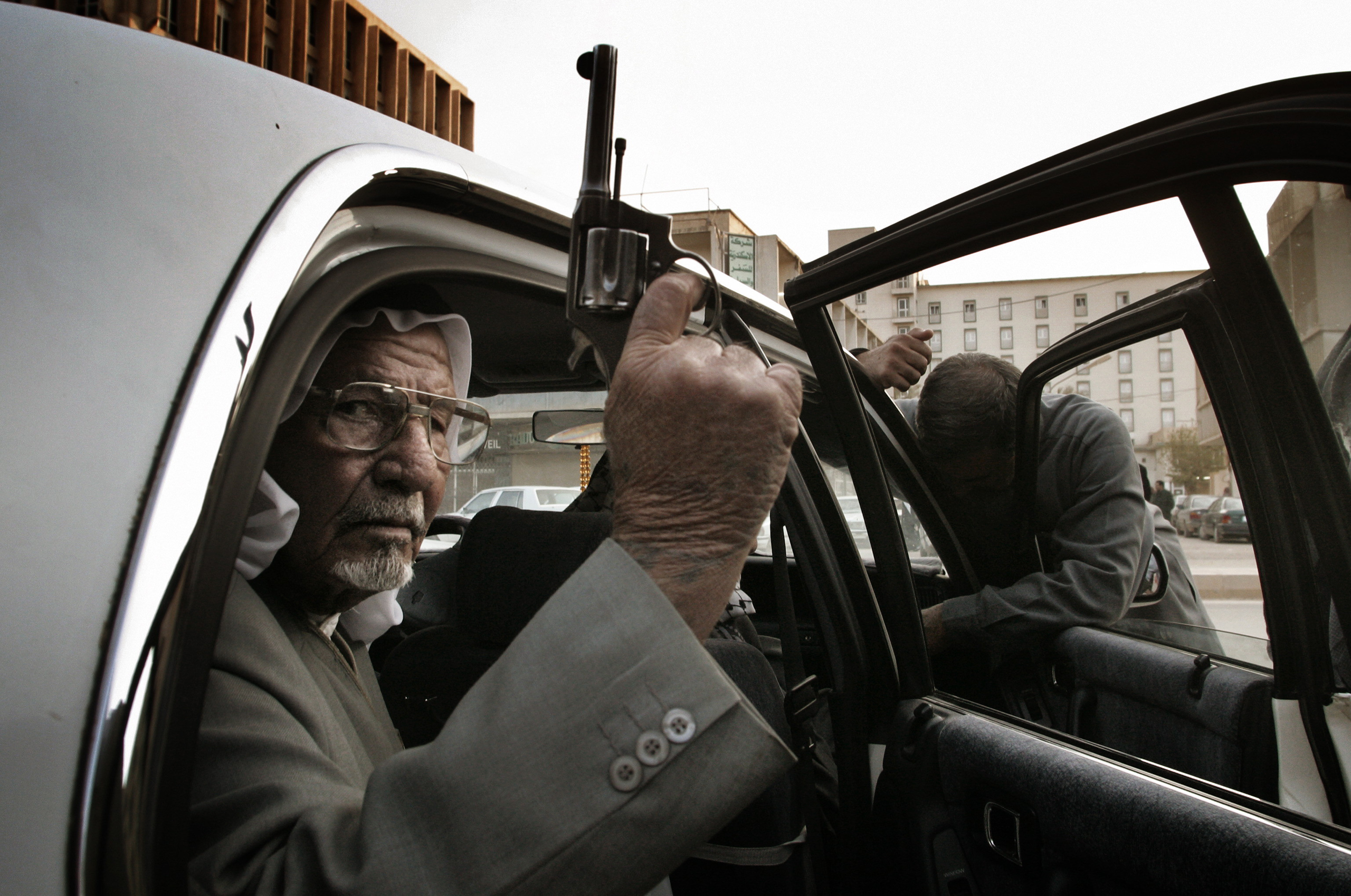 Tribal chiefs like this one from villages all over Iraq traveled to Baghdad for lessons in how to wage guerrilla warfare in their provinces in the days following the U.S. bombing campaign and occupation of Iraq,  March 28,  2003.