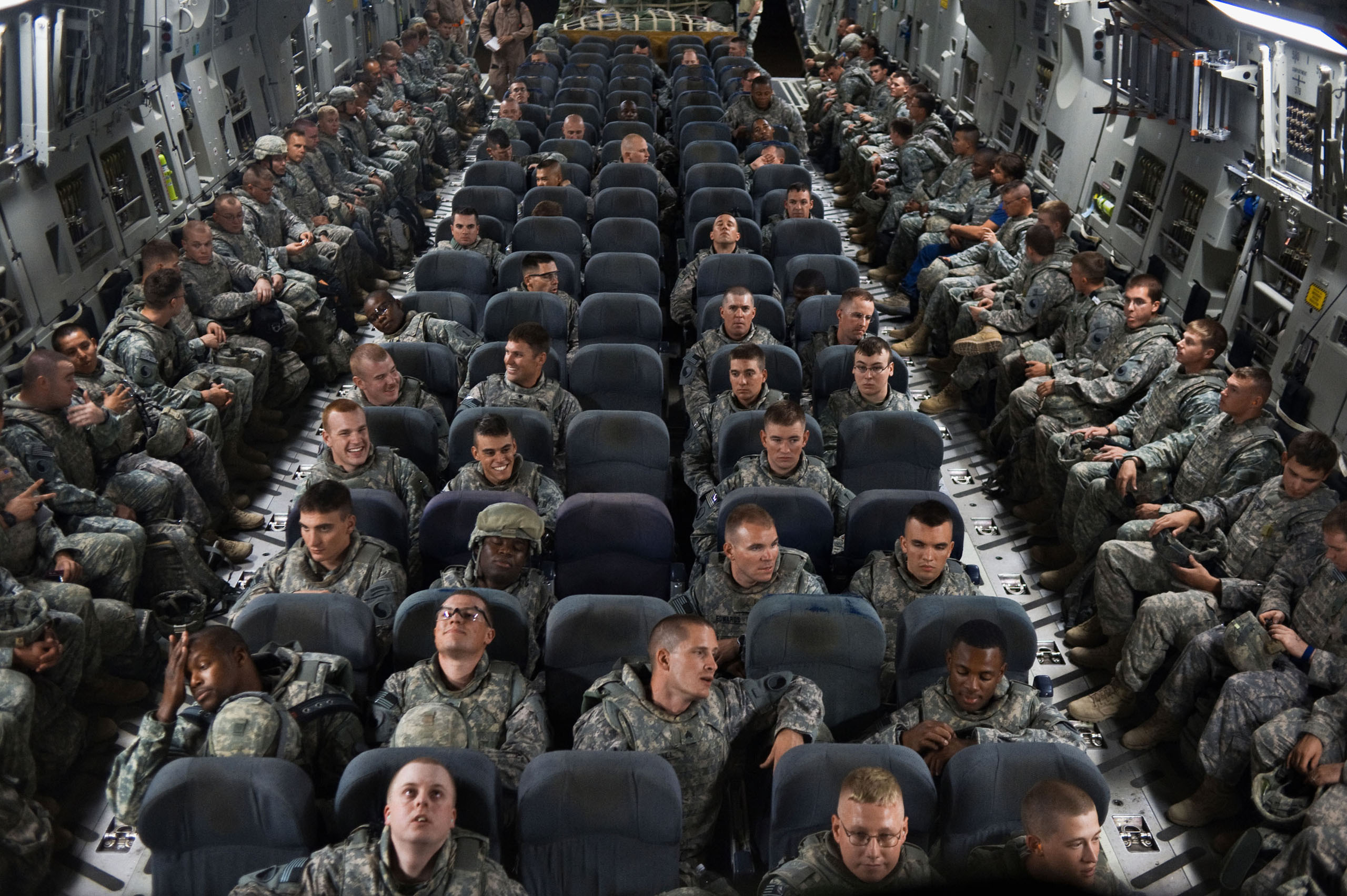 Soldiers from the Virginia National Guard's 1st Battalion, 116th Infantry Regiment, head back to the U.S. from Camp Adder, having served eight months, markingthe end of the U.S. combat mission in Iraq after seven years, Aug. 5, 2010.
