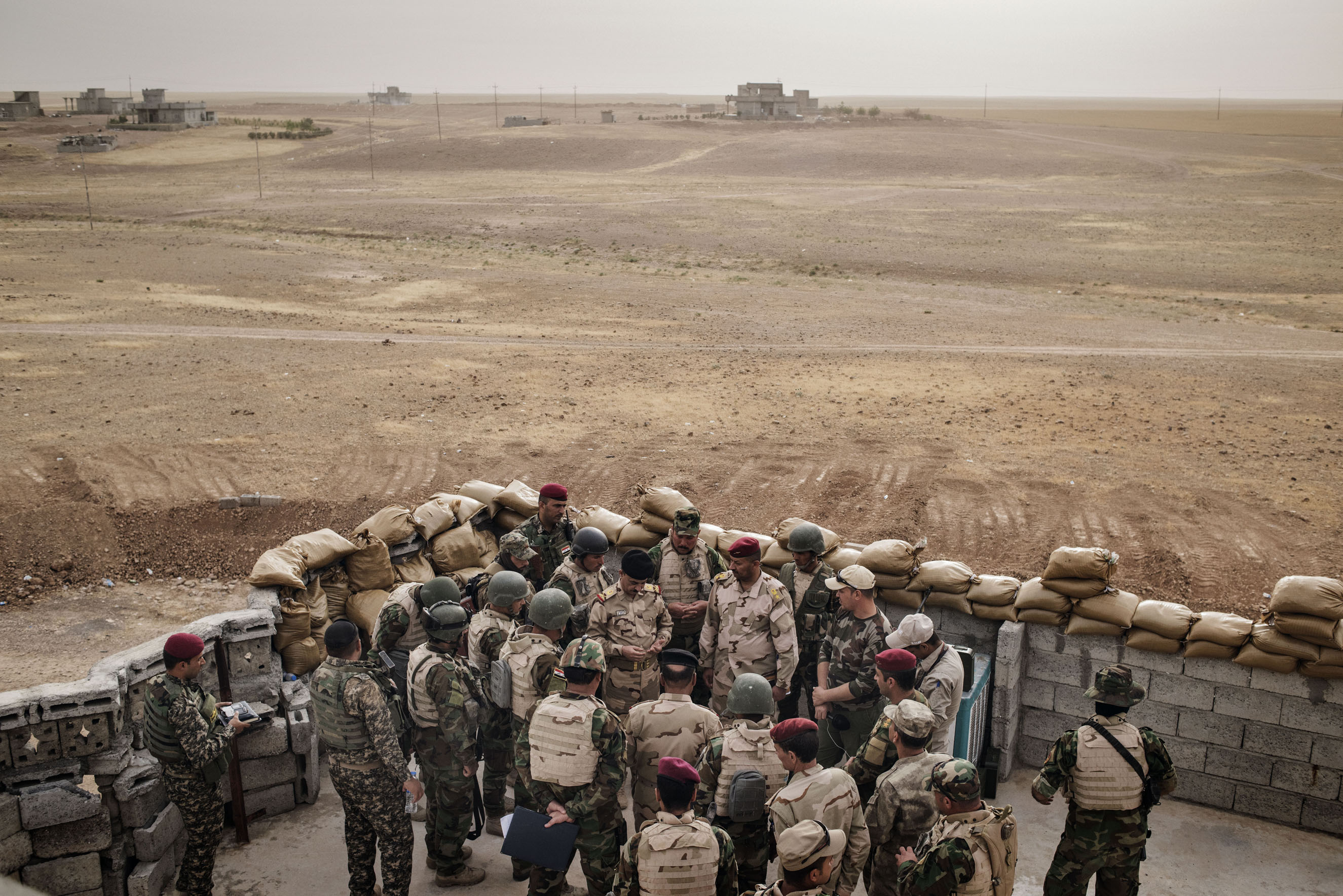 The  Iraqi army at a front line position in the village of Kharbardan, south of Mosul, May 18 2016.