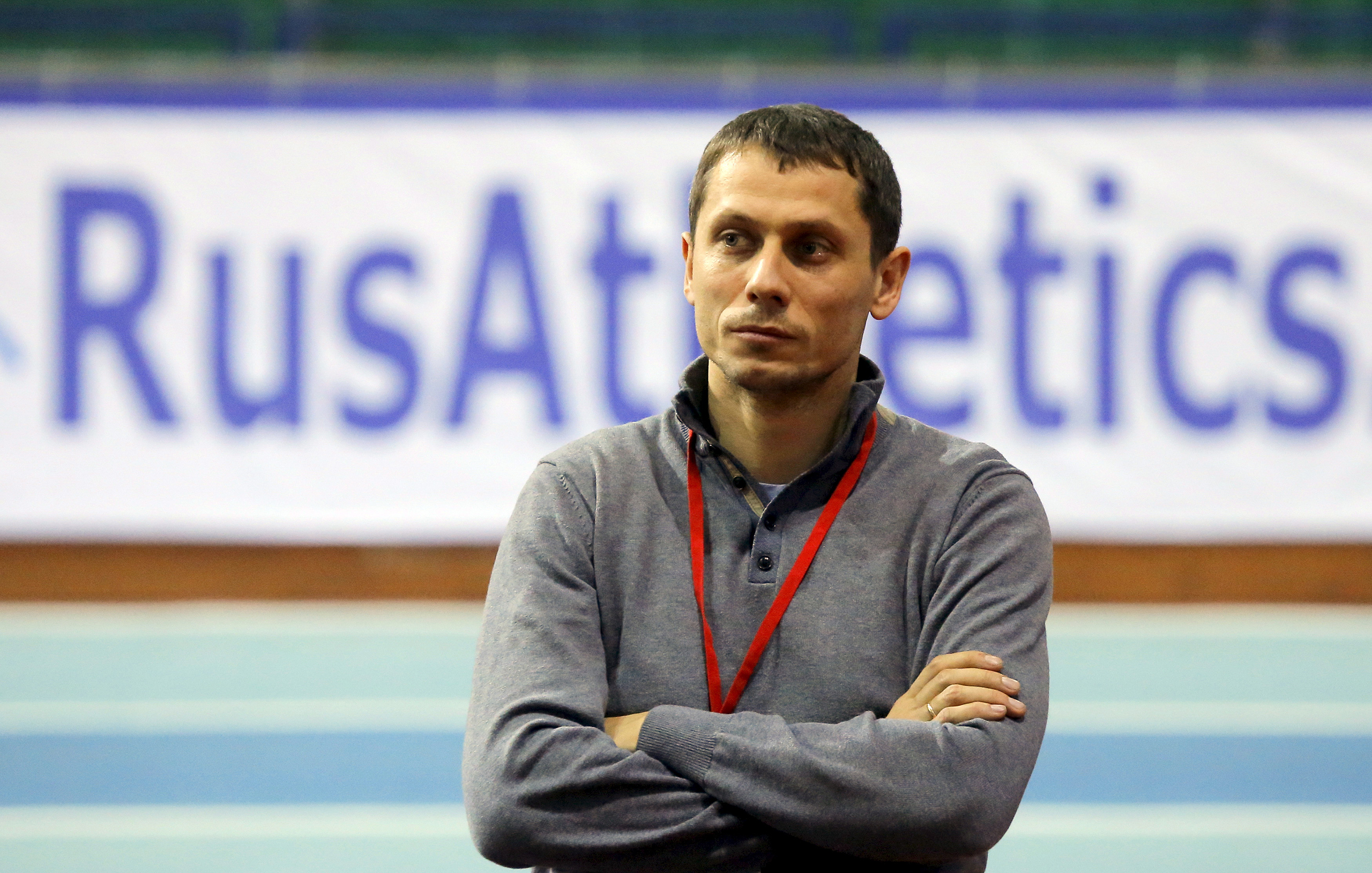 Yury Borzakovsky, head coach of Russian athletics team, attends the Russian Indoor Championships 2016 in Moscow, Feb. 24, 2016.