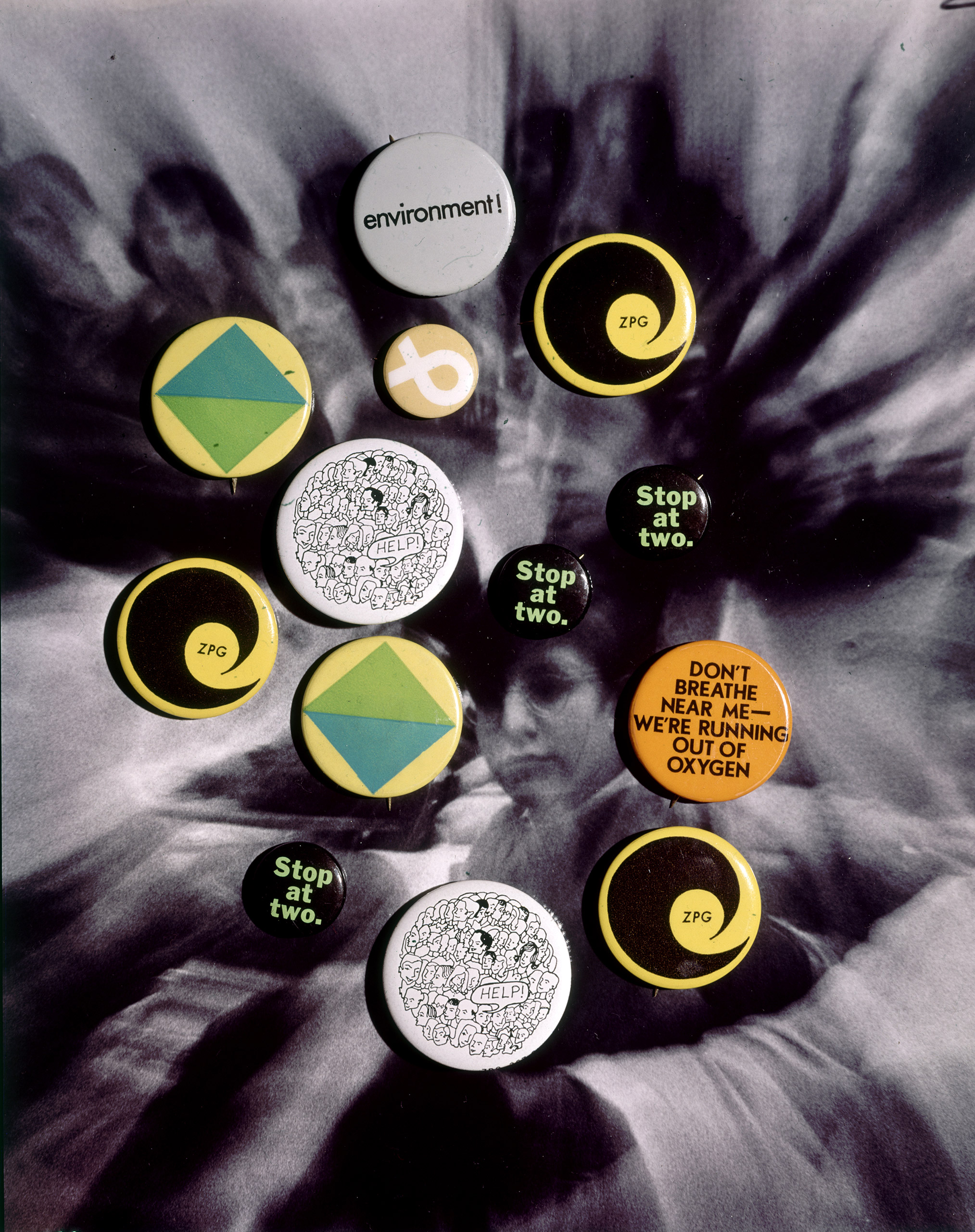 Ecology and population control buttons from the Zero Population Growth movement at Ithaca College NY 1970.