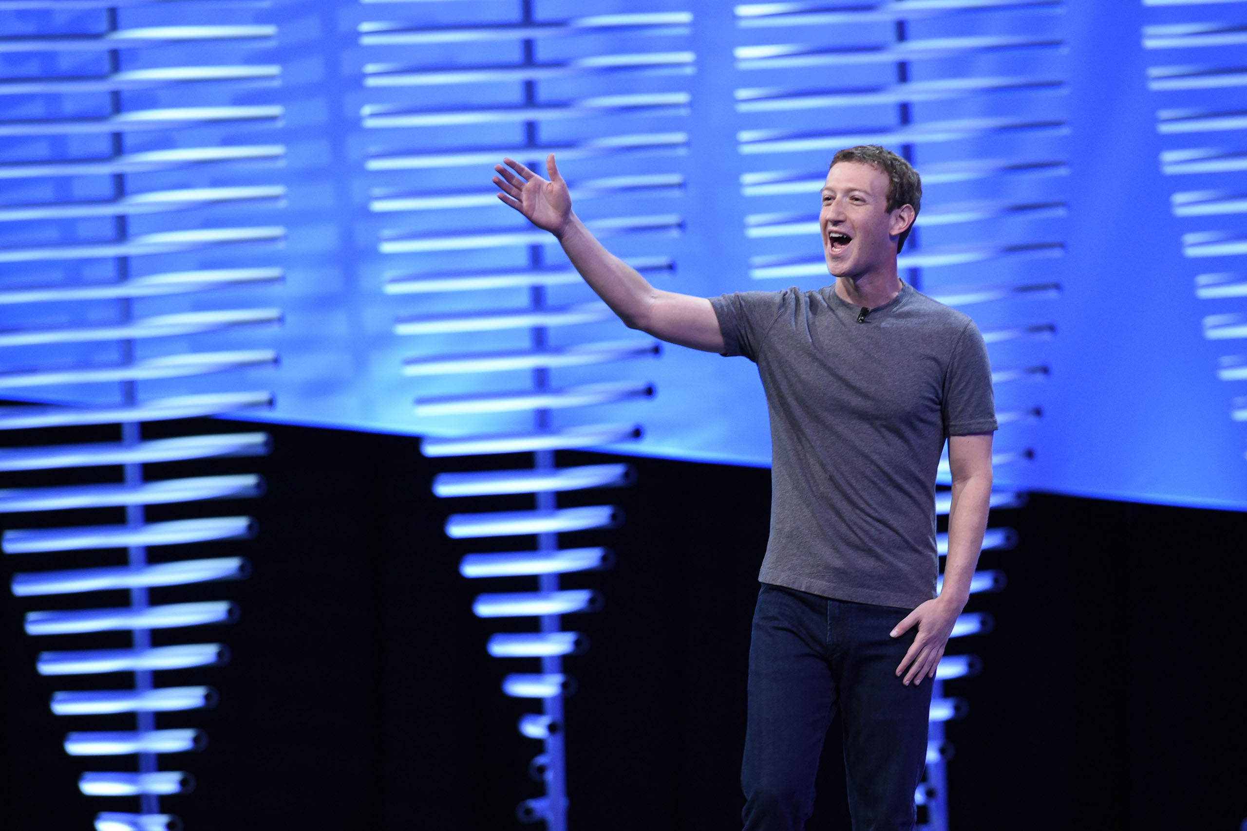 Mark Zuckerberg speaks during the Facebook F8 Developers Conference in San Francisco, Calif., April 12, 2016.