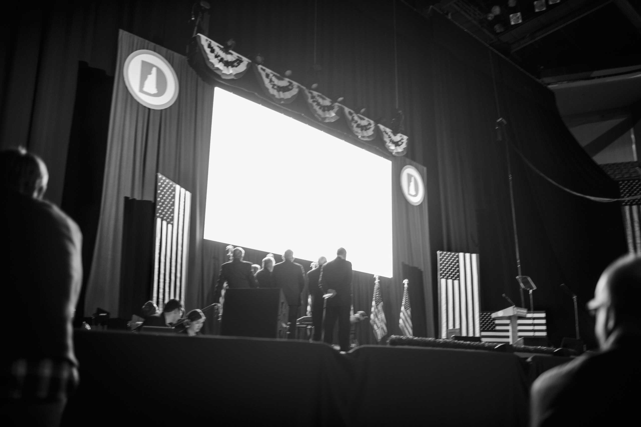 February 5, 2016 - Manchester, New Hampshire: Democratic Party officials are running a slideshow at the 2016 McIntyre-Shaheen 100 Club Celebration.