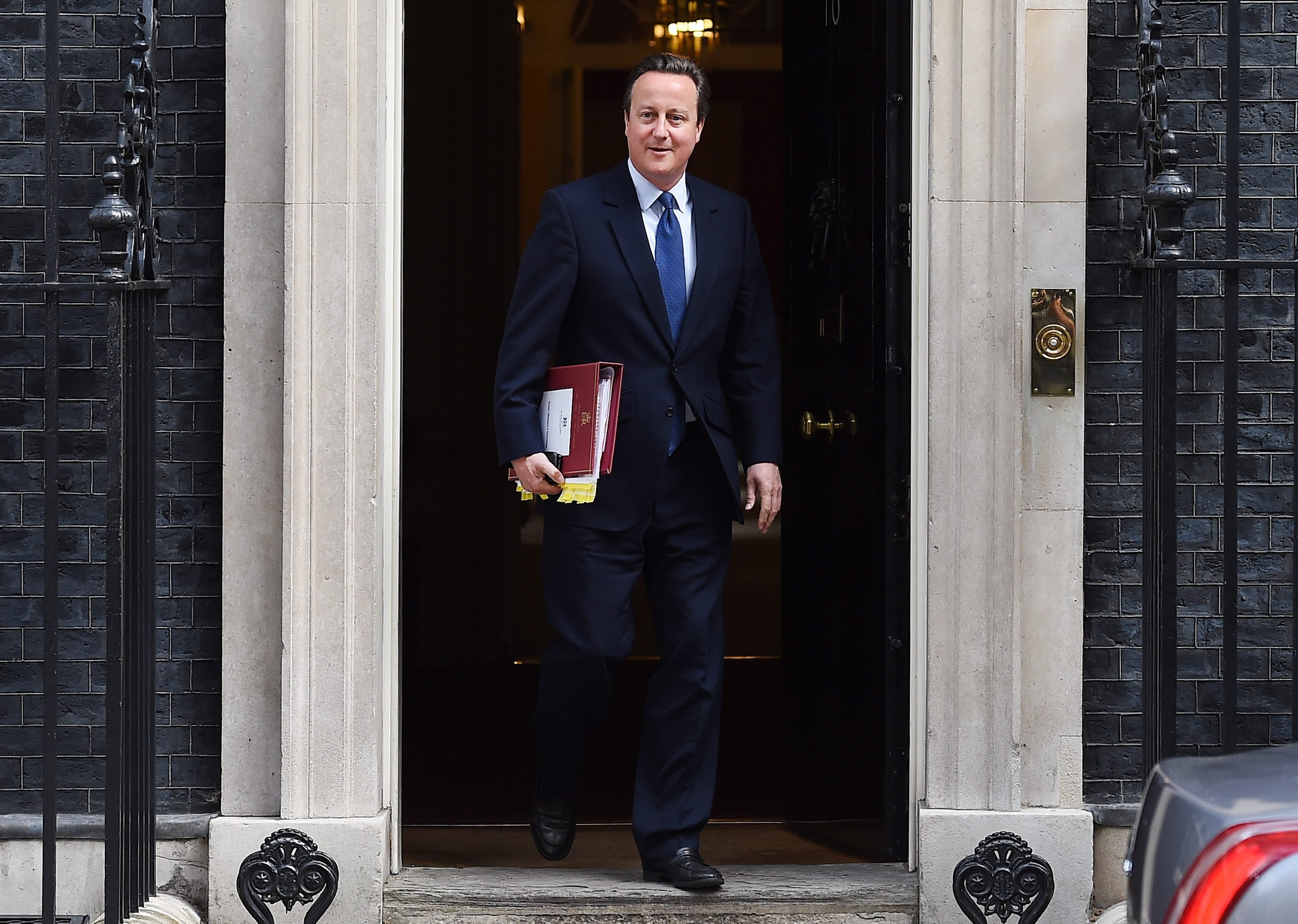British Prime Minister David Cameron departs 10 Downing Street for his last Prime Minister's Questions in the House of Commons, Westminister, London on July 13, 2016.