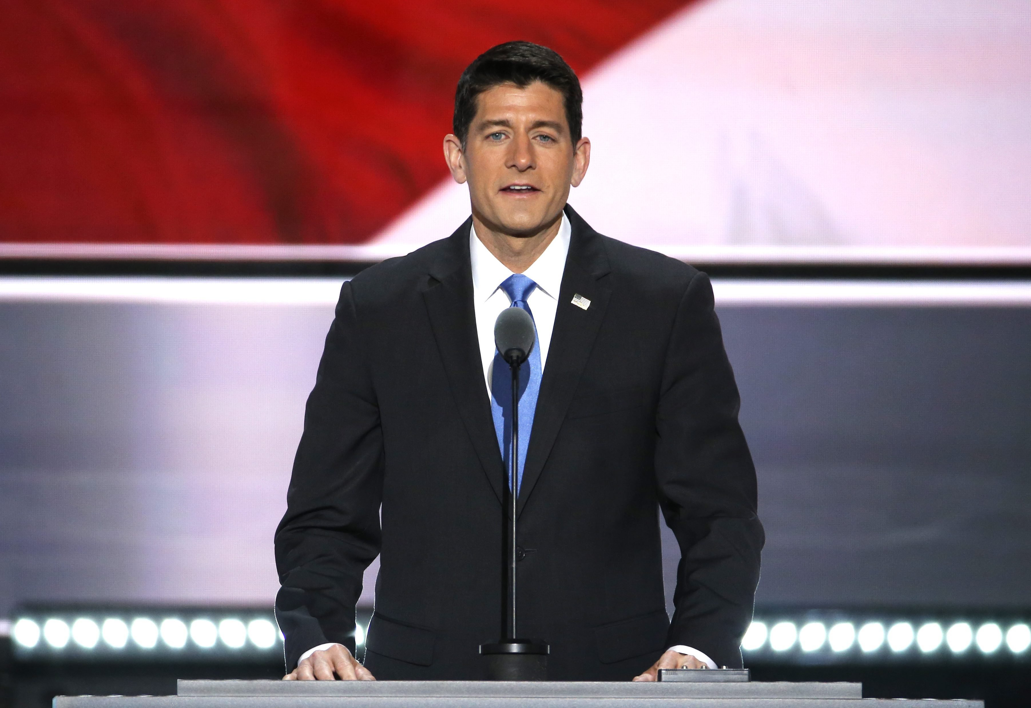 Speaker of the House and Permanent Chair of the Republican National Convention Paul Ryan delivers remarks on stage at the Quicken Loans Arena on the second day of the 2016 Republican National Convention in Cleveland, July 19, 2016.