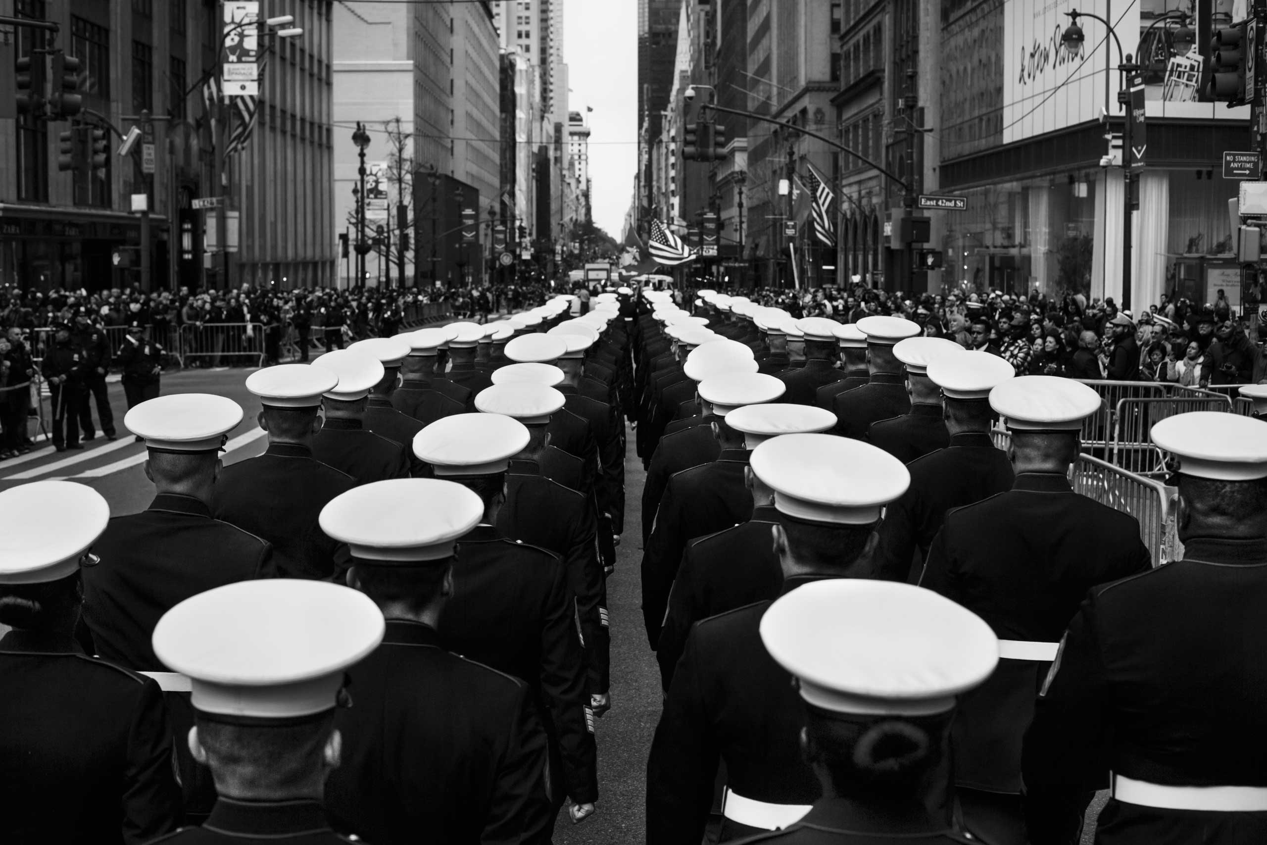 November 11, 2015 - New York, New York: Participants lining up on 5th Avenue and 42nd Street for the Veterans Day parade.