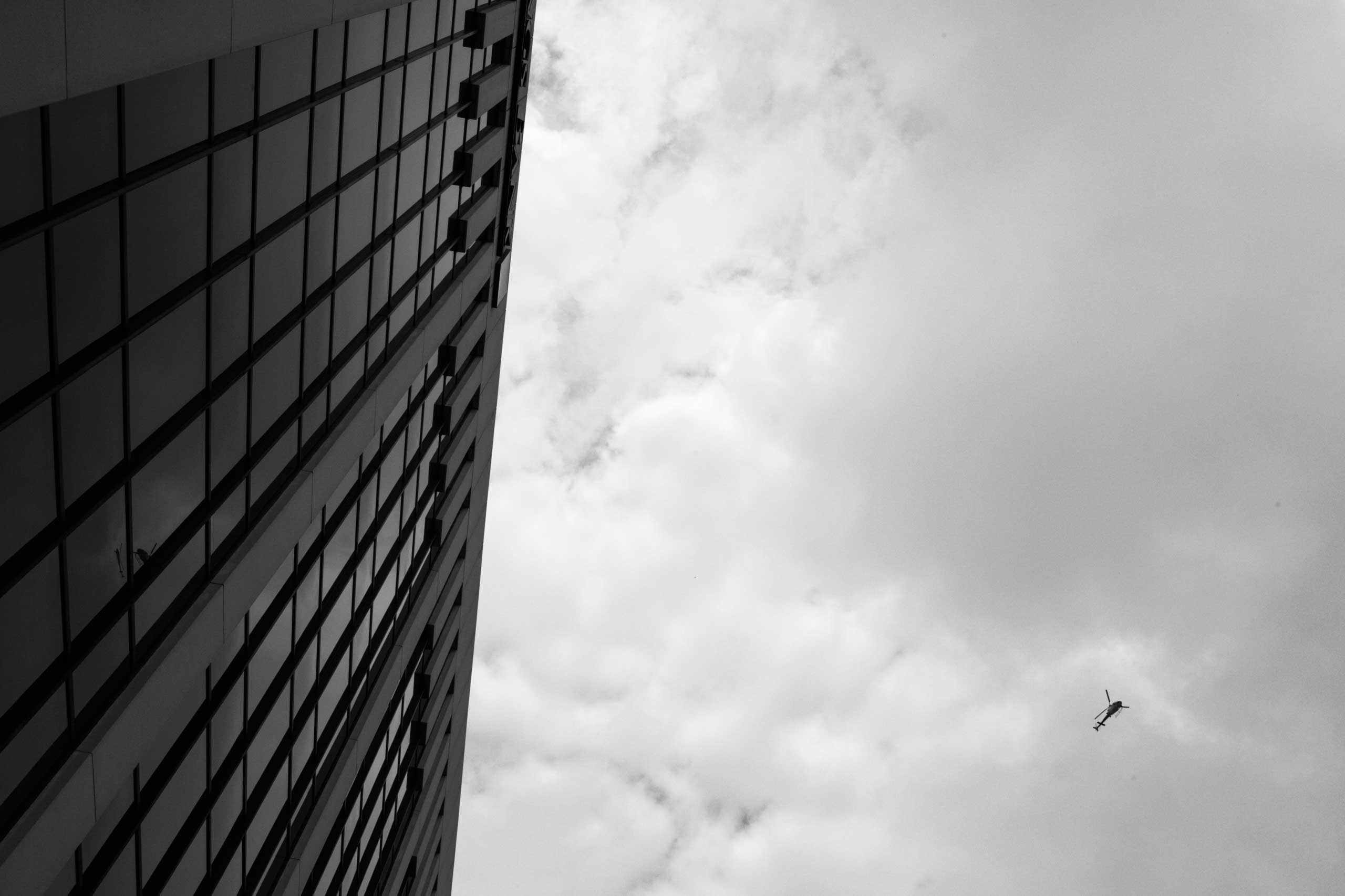 July 16, 2016 - Cleveland, Ohio: A helicopter is flying over downtown while the preperations for the Republican National Convention are still taking place.
