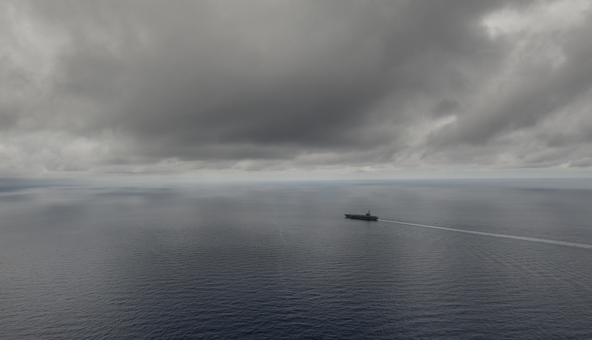 The aircraft carrier USS Ronald Reagan steams in the South China Sea last week.