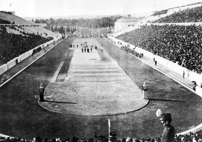Athens 1896 - The Pan-Athenian stadium during the events.