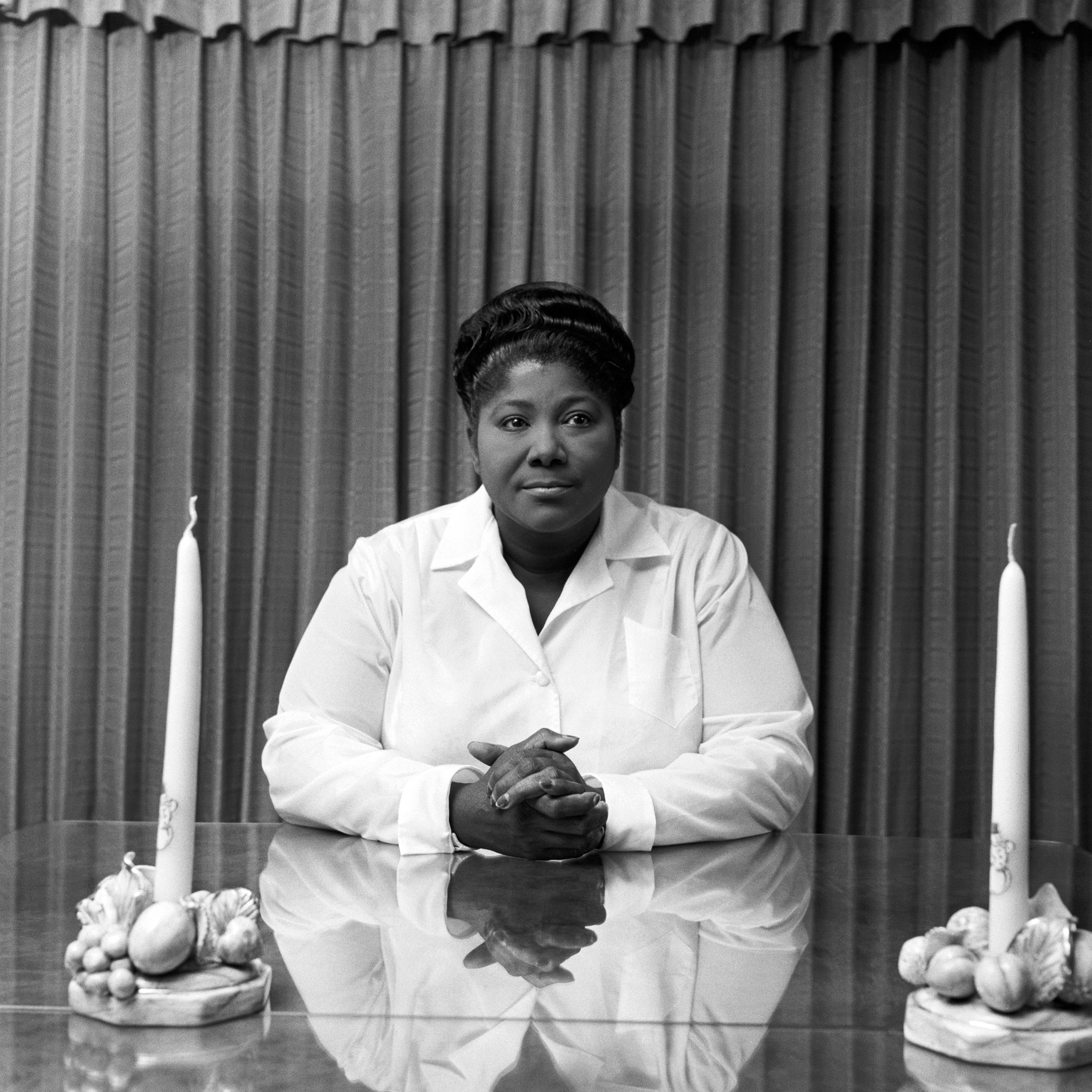 Portrait of American gospel singer Mahalia Jackson, often referred to as  The Queen of Gospel.  this photoshoot was commissioned by DownBeat magazine and the story was published on Dec. 11, 1958.