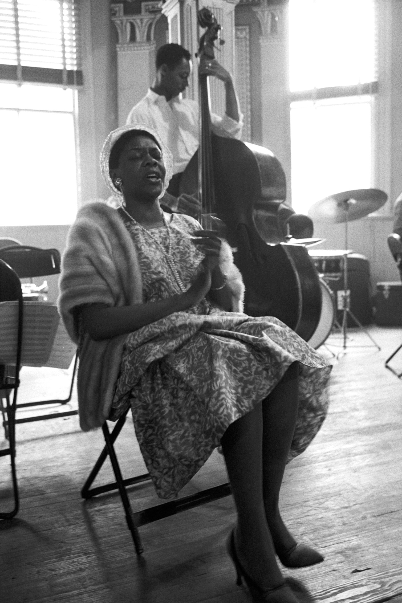 American singer and pianist Dinah Washington singing at a rehearsal during Newport Jazz Festival, Rhode Island, 1958.