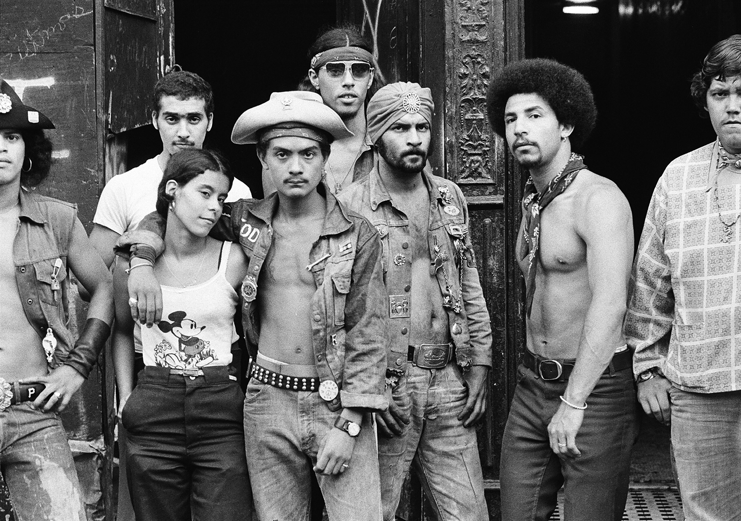 Group portrait of members of Bronx street gang the Dragons, 1975.