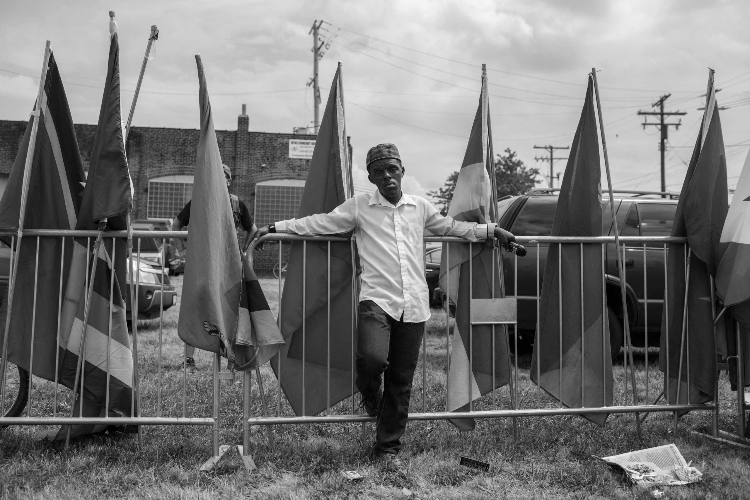 July 18, 2016 - Cleveland, Ohio: Enwar Jr., activist with  Peace in the Hood , is attending the  End Poverty  rally on the first day of the Republican National Convention in East Cleveland.