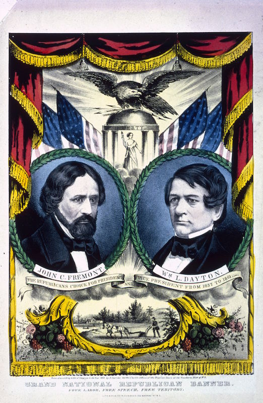 A banner supporting the candidacy of Republican politician John Fremont (1813 - 1890) and his running mate William Drayton (1807 - 1864) in the election of 1856.
