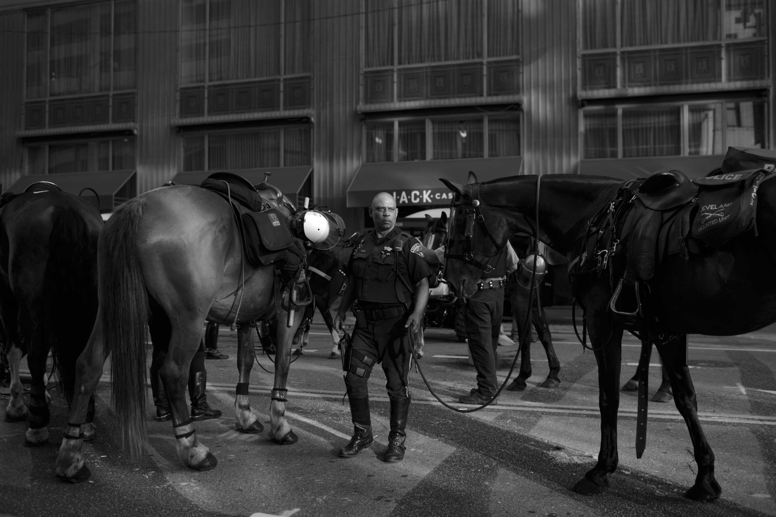 July 19, 2016 - Cleveland, Ohio: An officer of the Cleveland Police Mounted Unit is taking a break after shift change on the second day of the Republican National Convention.