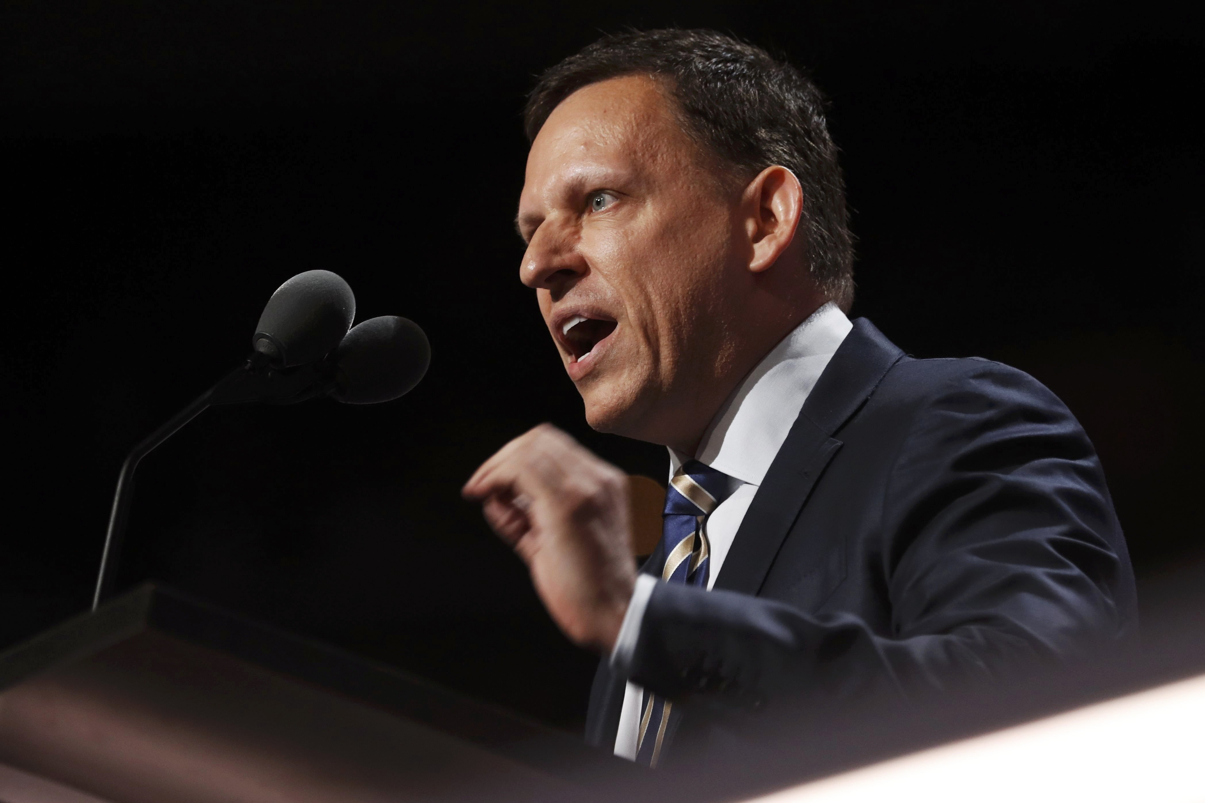 Paypal co-founder Peter Thiel speaks at the Republican National Convention in Cleveland, July 21, 2016.