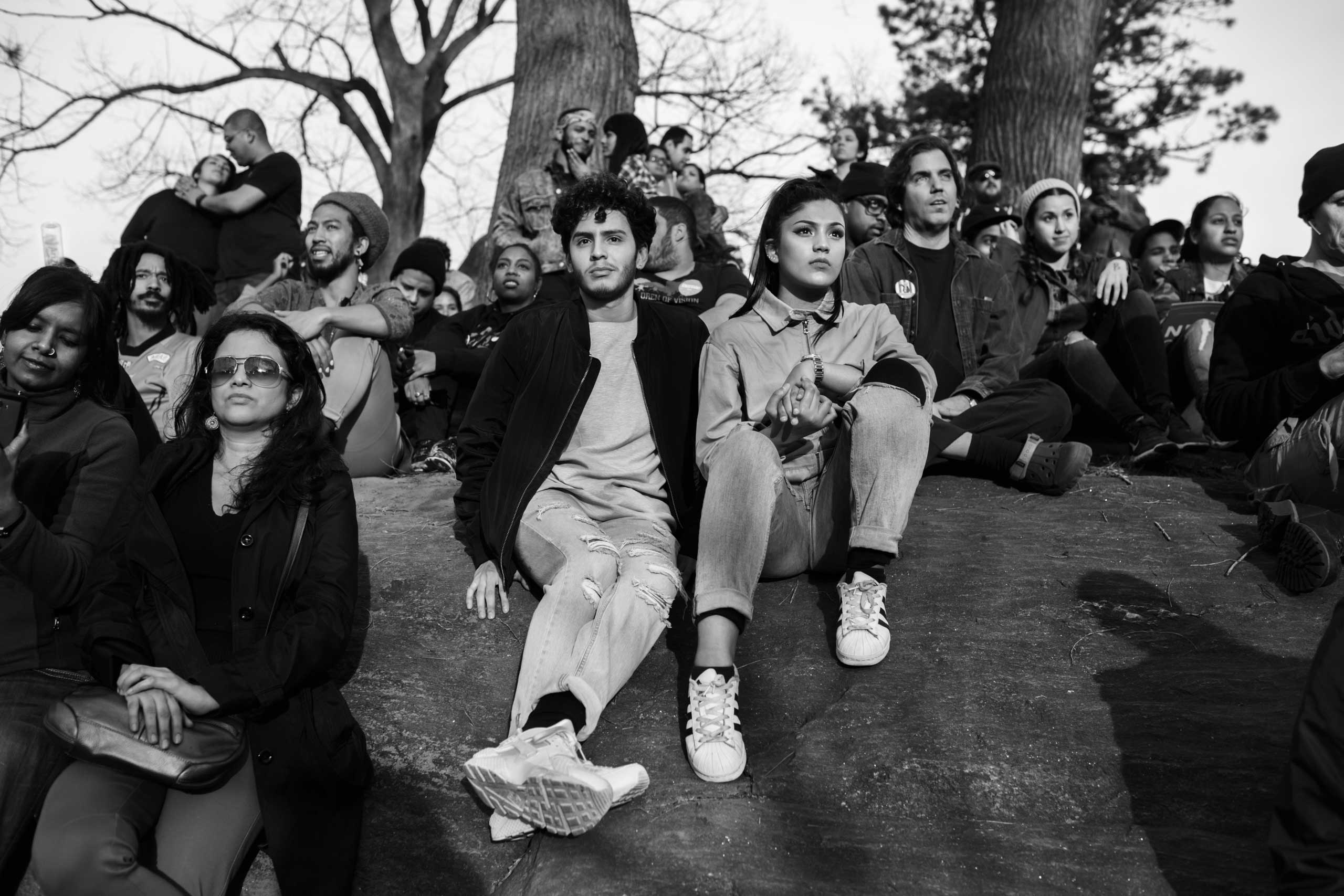 March 31, 2016 - New York, New York: People gather in St. Marys Park in the South Bronx to attend a Bernie Sanders Rally. It's the first time a candidate made a campaign stop in the South Bronx since 1980.
