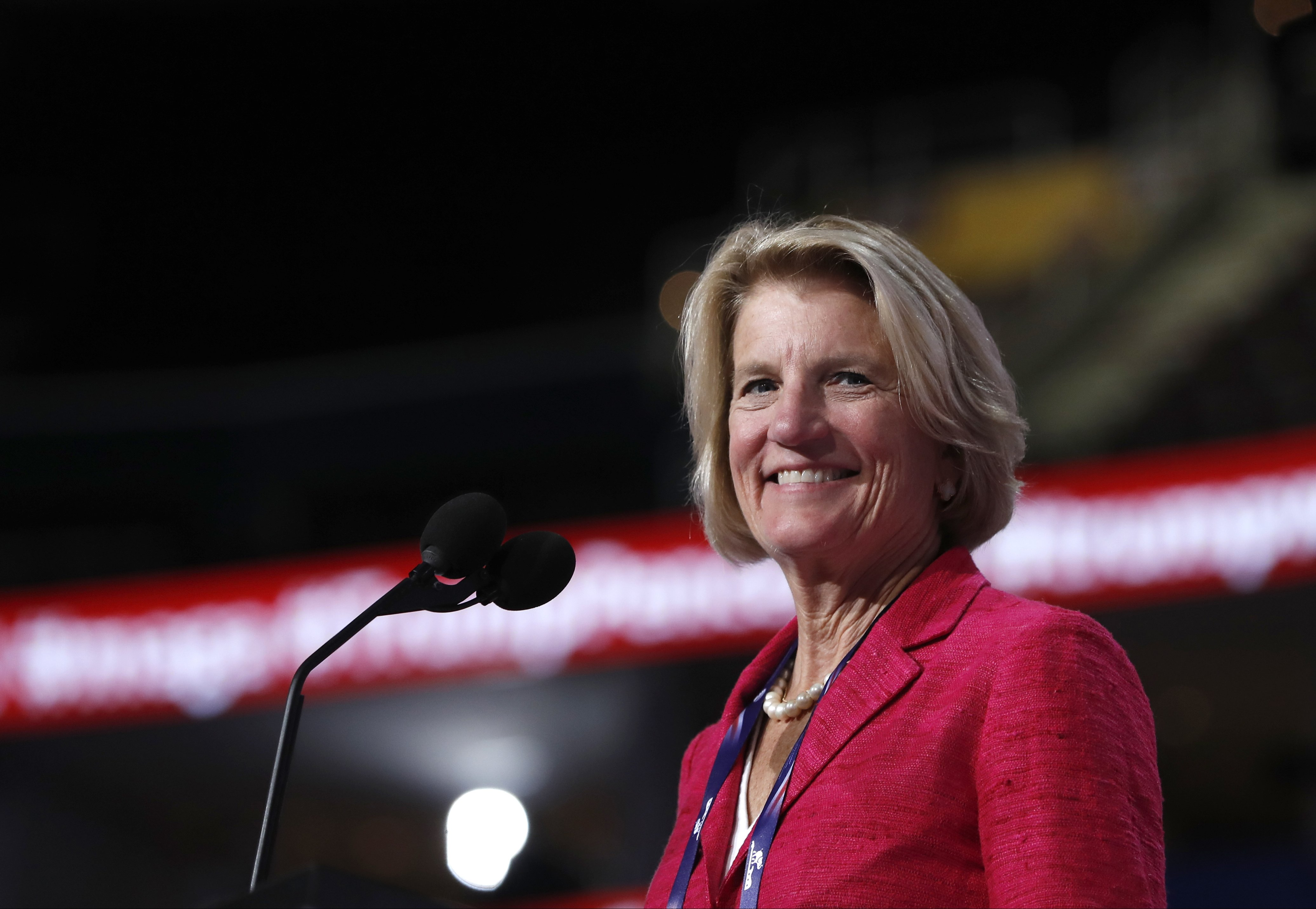 Sen. Shelley Moore Capito, checks out the stage before the opening session of the Republican National Convention in Cleveland,July 18, 2016.