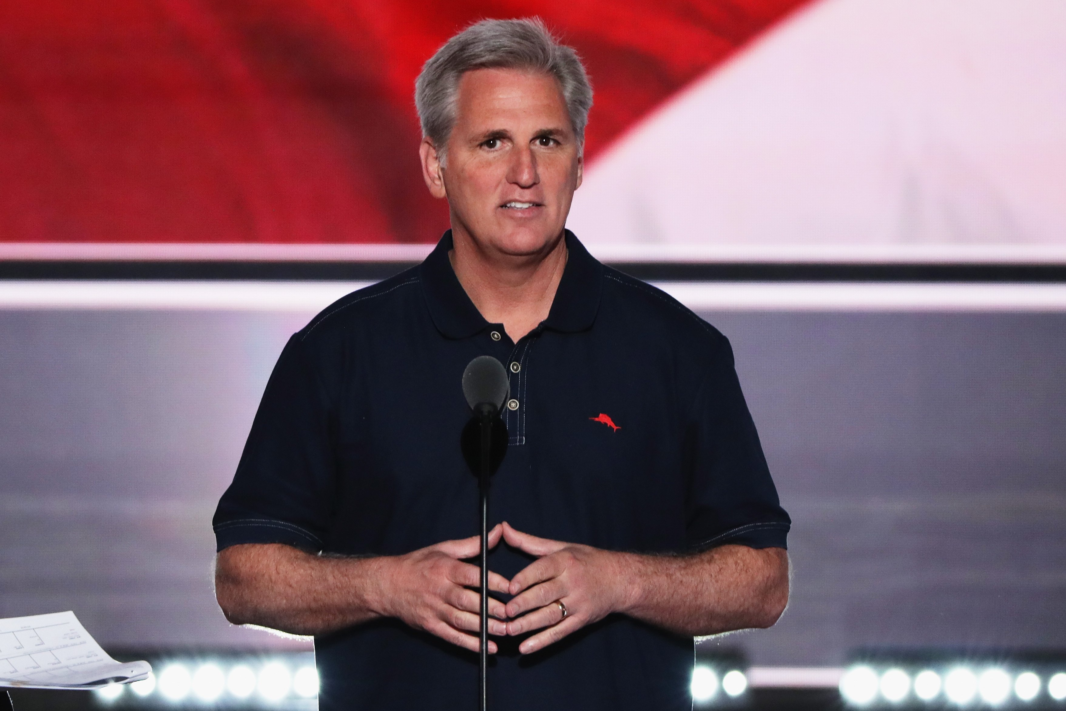 House Majority Leader Rep. Kevin McCarthy stands on stage prior to the start of the second day of the Republican National Convention on July 19, 2016 at the Quicken Loans Arena in Cleveland.