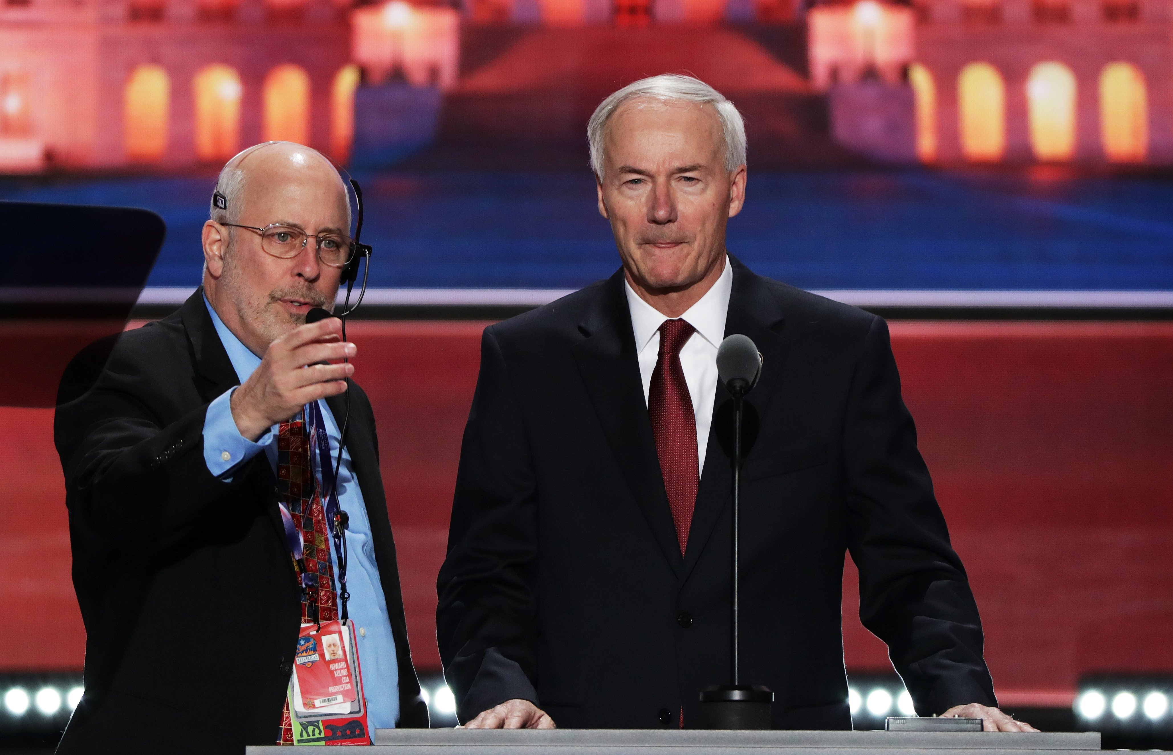 Arkansas Governor Asa Hutchinson stands on stage prior to the start of the second day of the Republican National Convention on July 19, 2016 at the Quicken Loans Arena in Cleveland.