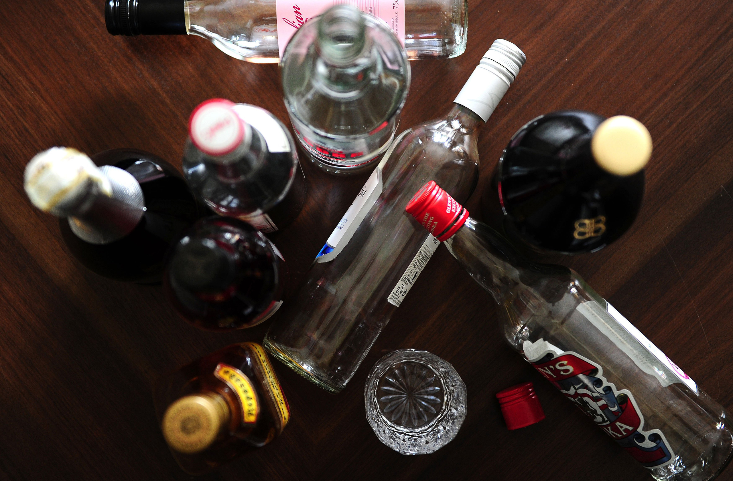 Empty bottles of alcohol, as a review concluded that there is strong evidence that alcohol causes seven types of cancer and probably others.