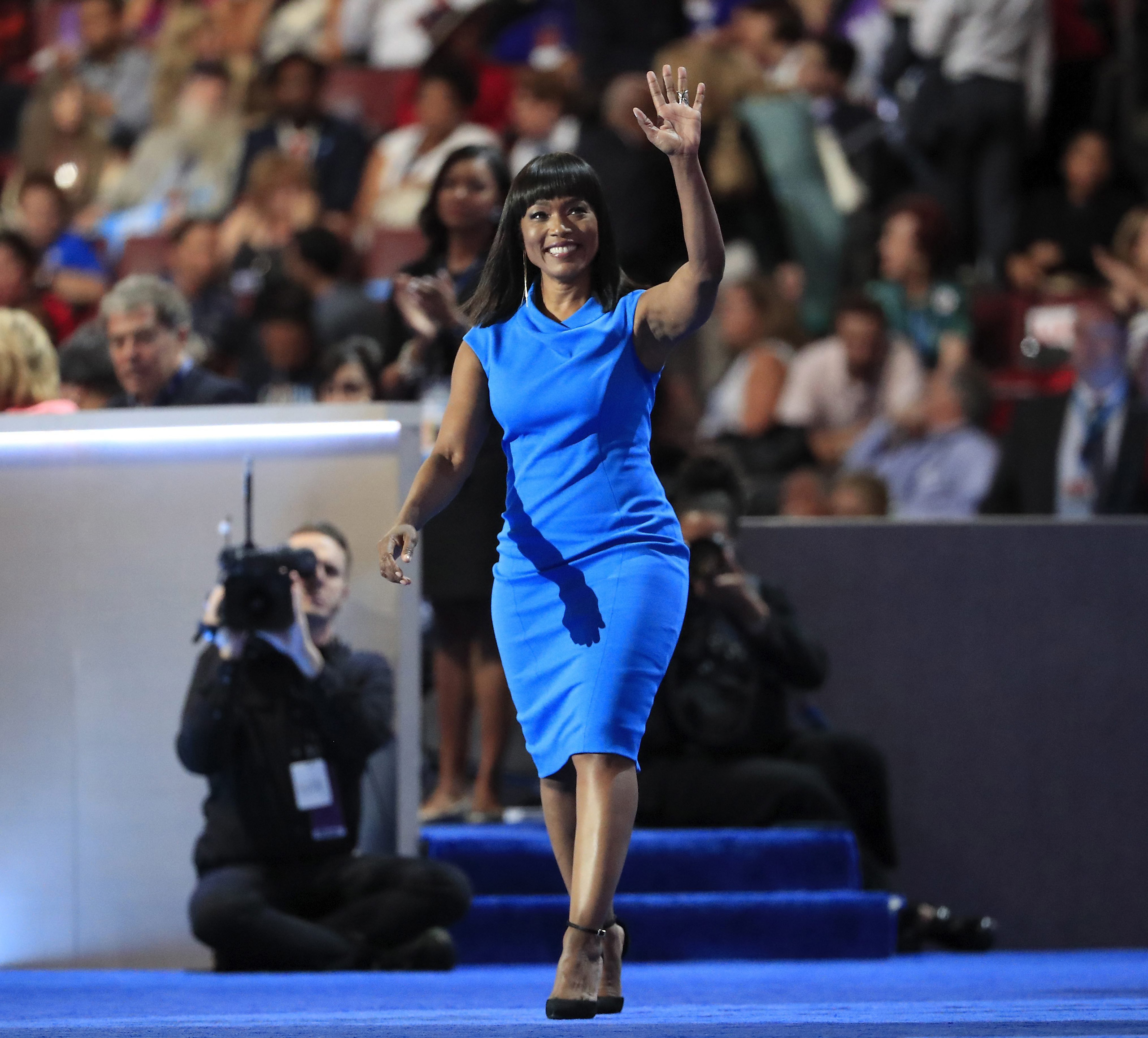 Angela Bassett walks to the stage prior to speaking on the third day of the Democratic National Convention at the Wells Fargo Center in Philadelphia on July 27, 2016.
