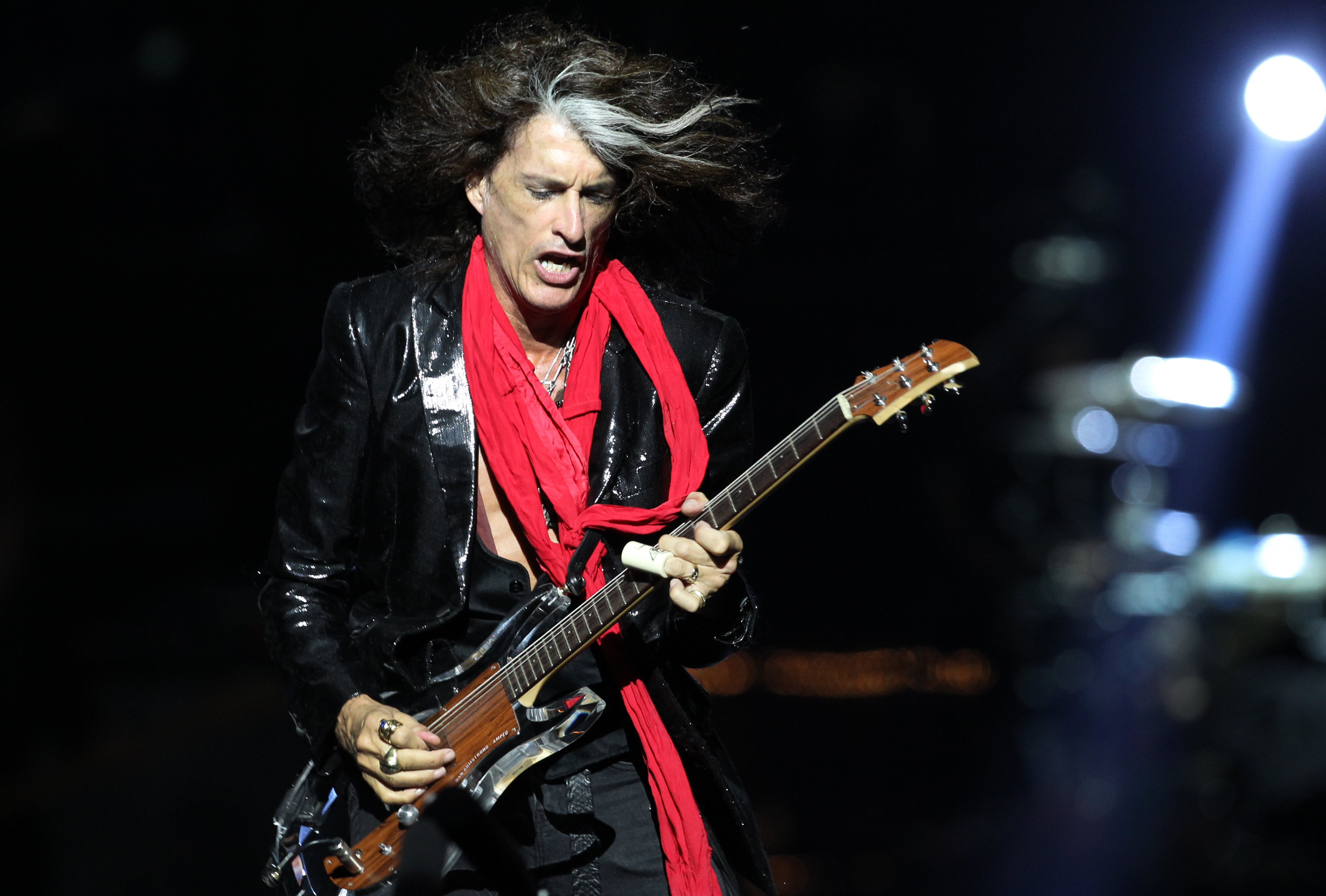 Lead guitarist Joe Perry, of American rock band Aerosmith, performs in Singapore on May 25, 2013.