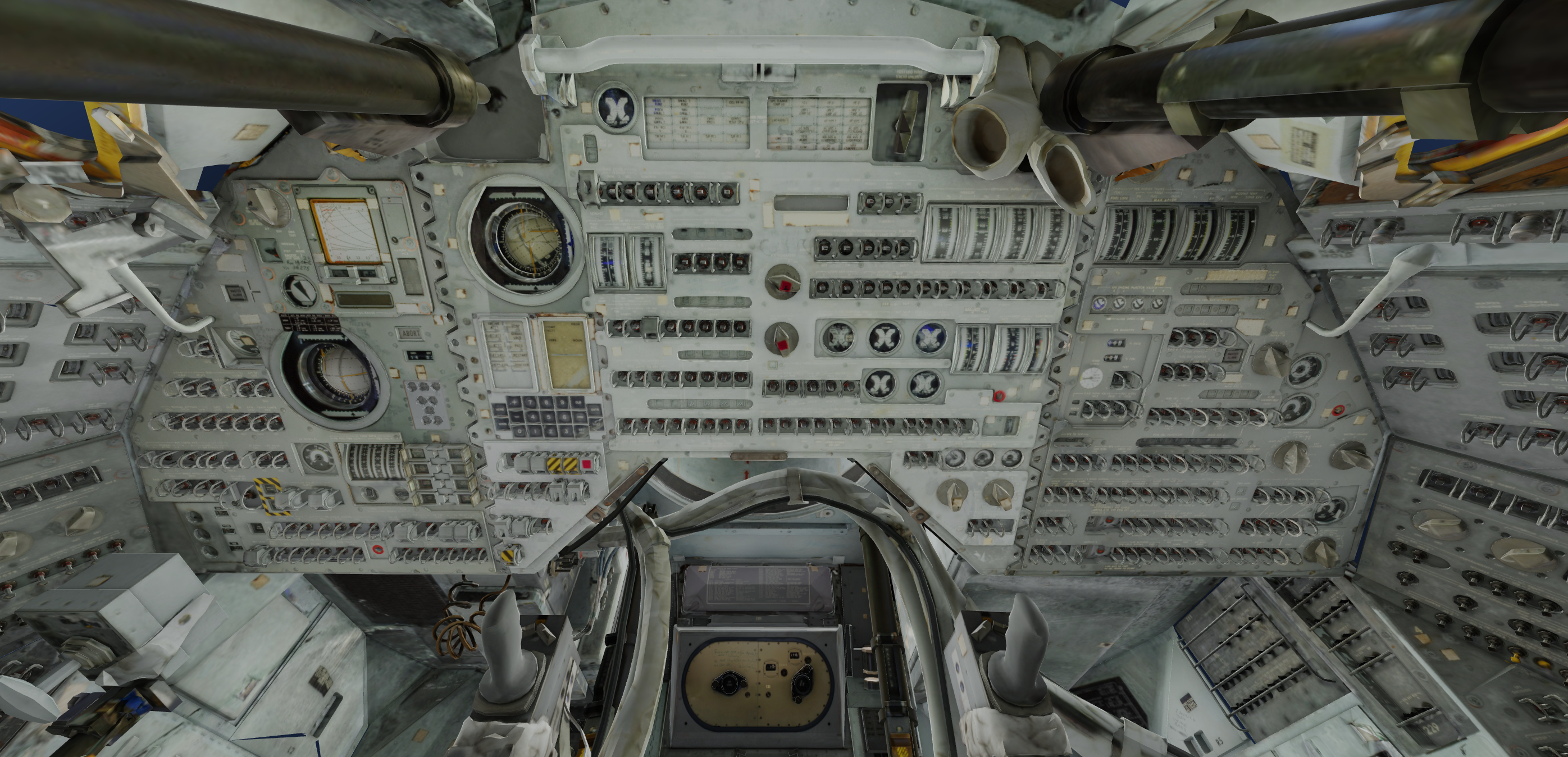 Displays and controls of the Apollo 11.