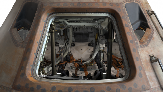 The hatch of the 3-D Apollo command module.