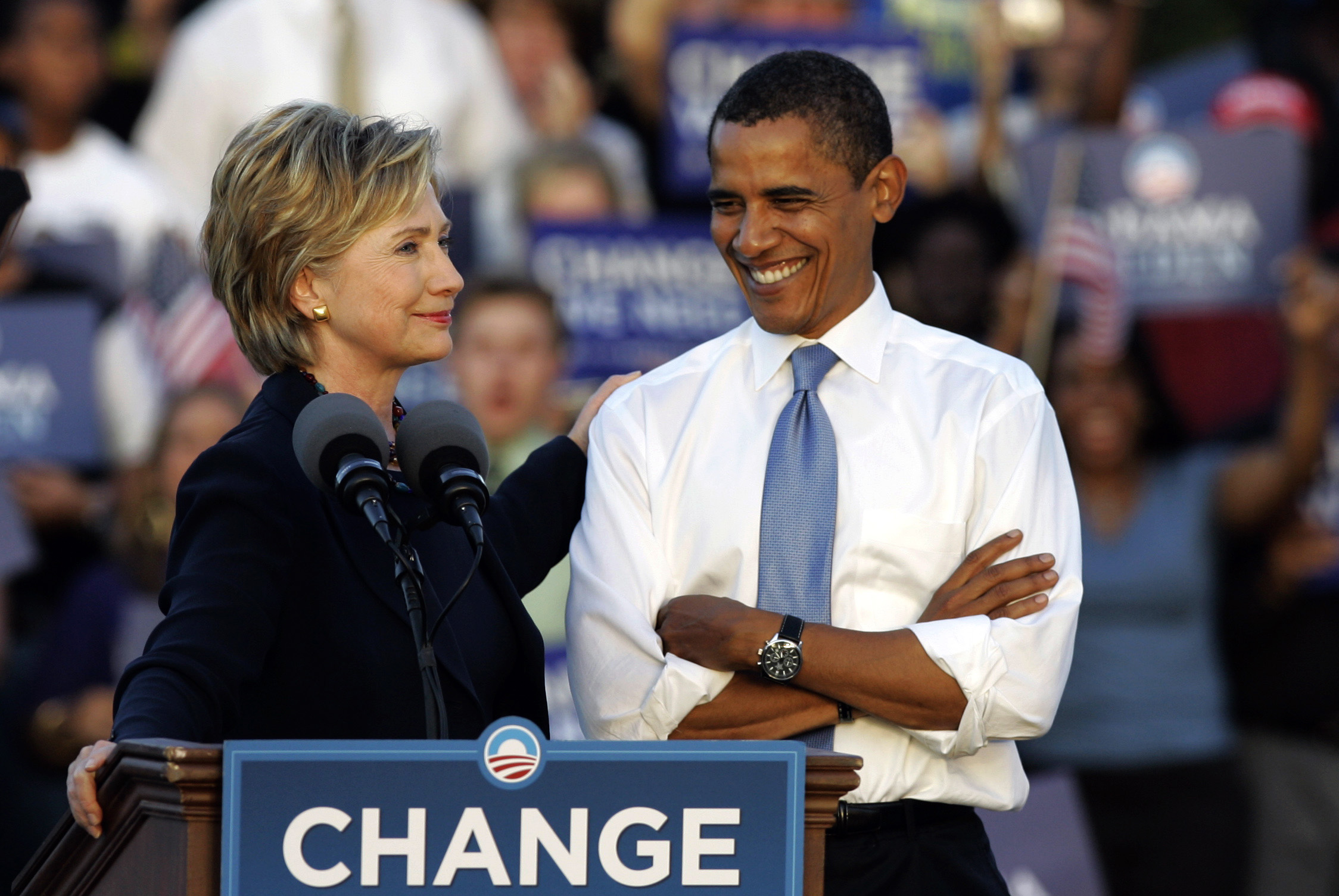 October 2008 Then-Sen. Hillary Clinton, D-N.Y., delivers a speech supporting then-Democratic presidential candidate Sen. Barack Obama, D-Ill., at a rally in Orlando, Fla. on  Oct. 20, 2008.