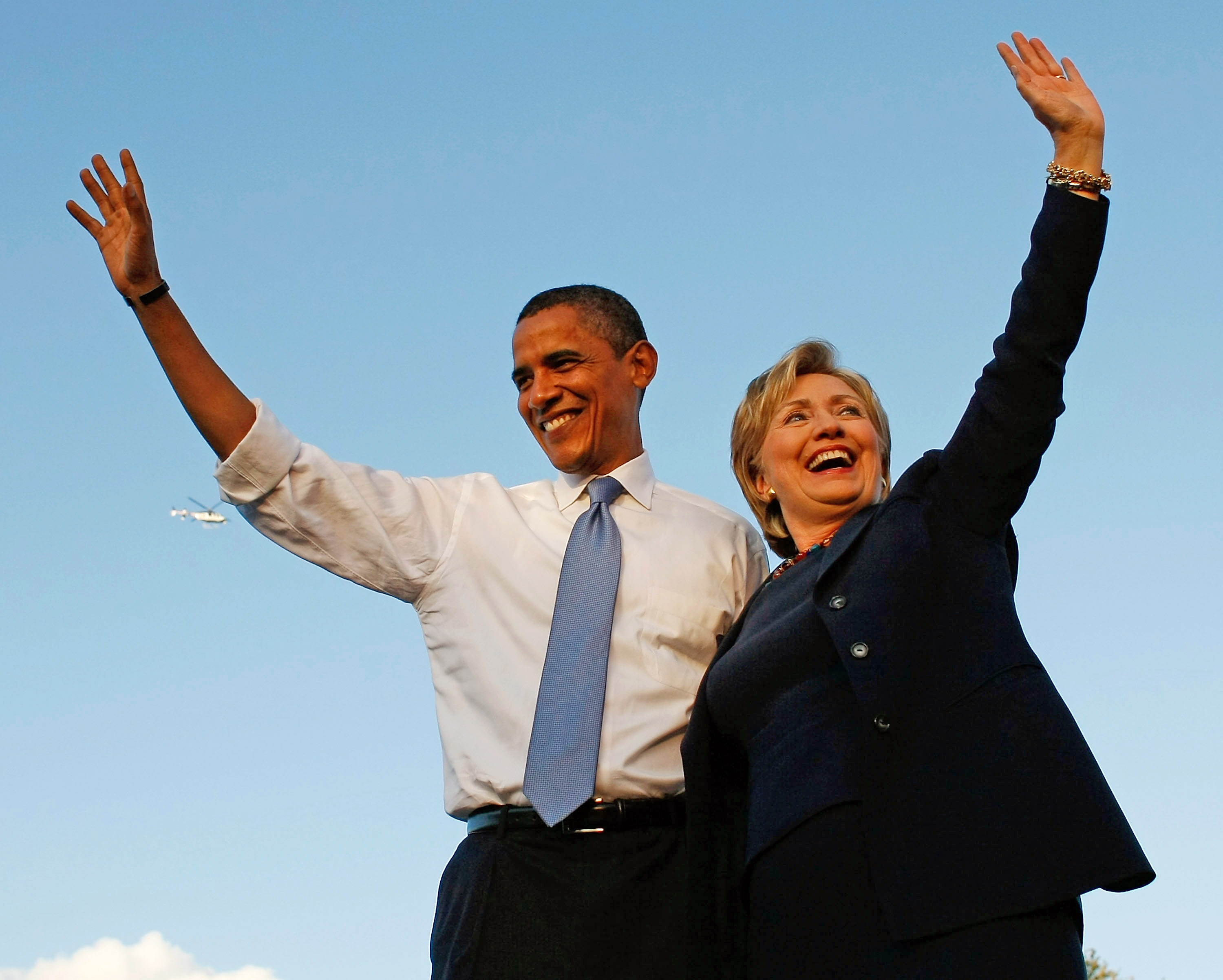 October 2008 Democratic presidential nominee Barack Obama and Hillary Clinton attend a campaign rally together on Oct. 20, 2008 in Orlando, Fla.