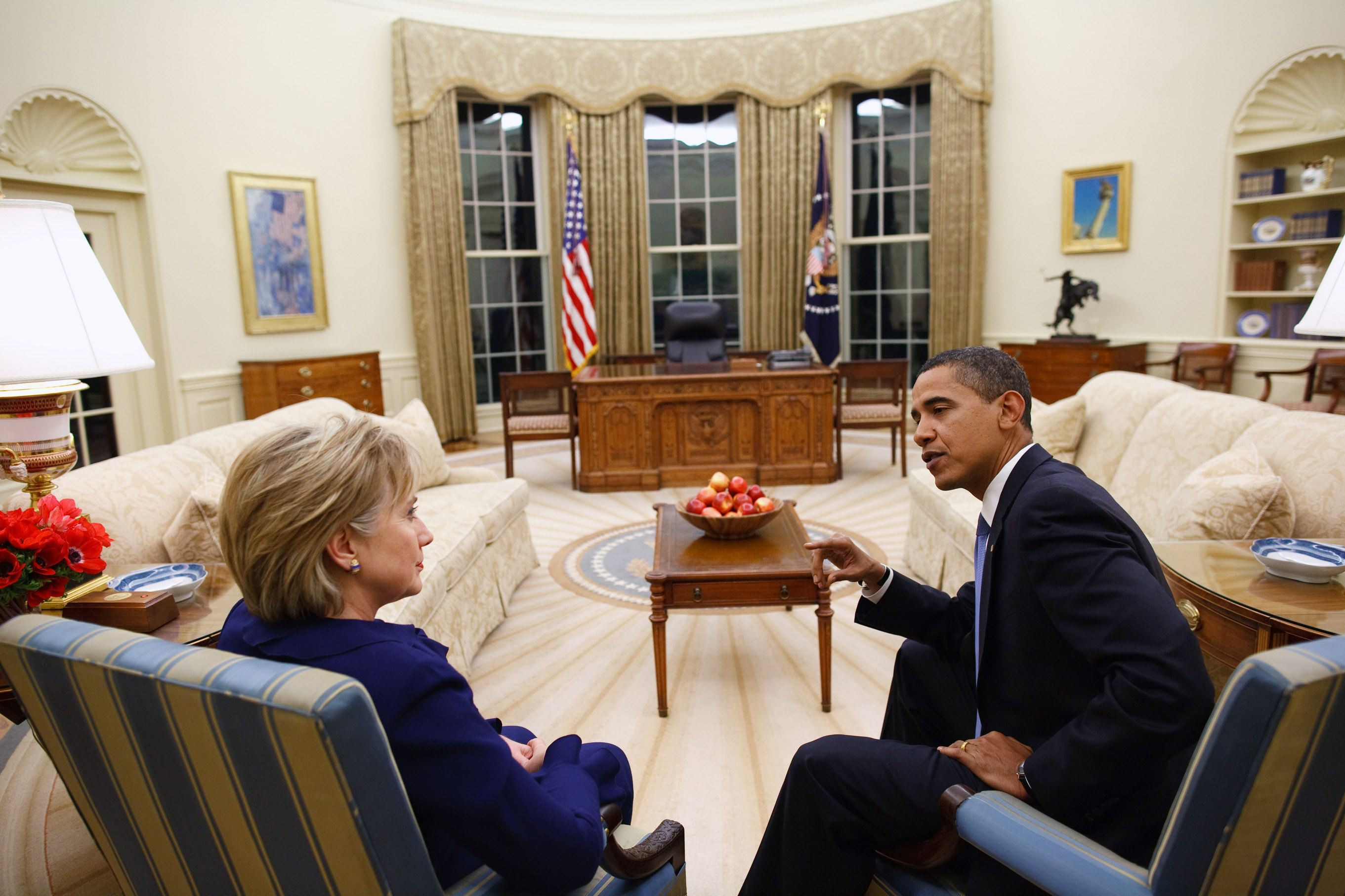 January 2009 In this photo released by the White House, President Barack Obama talks with Secretary of State Hillary Rodham Clinton shortly after she was confirmed and sworn in, at the Oval Office of the White House on Jan. 21, 2009 in Washington.