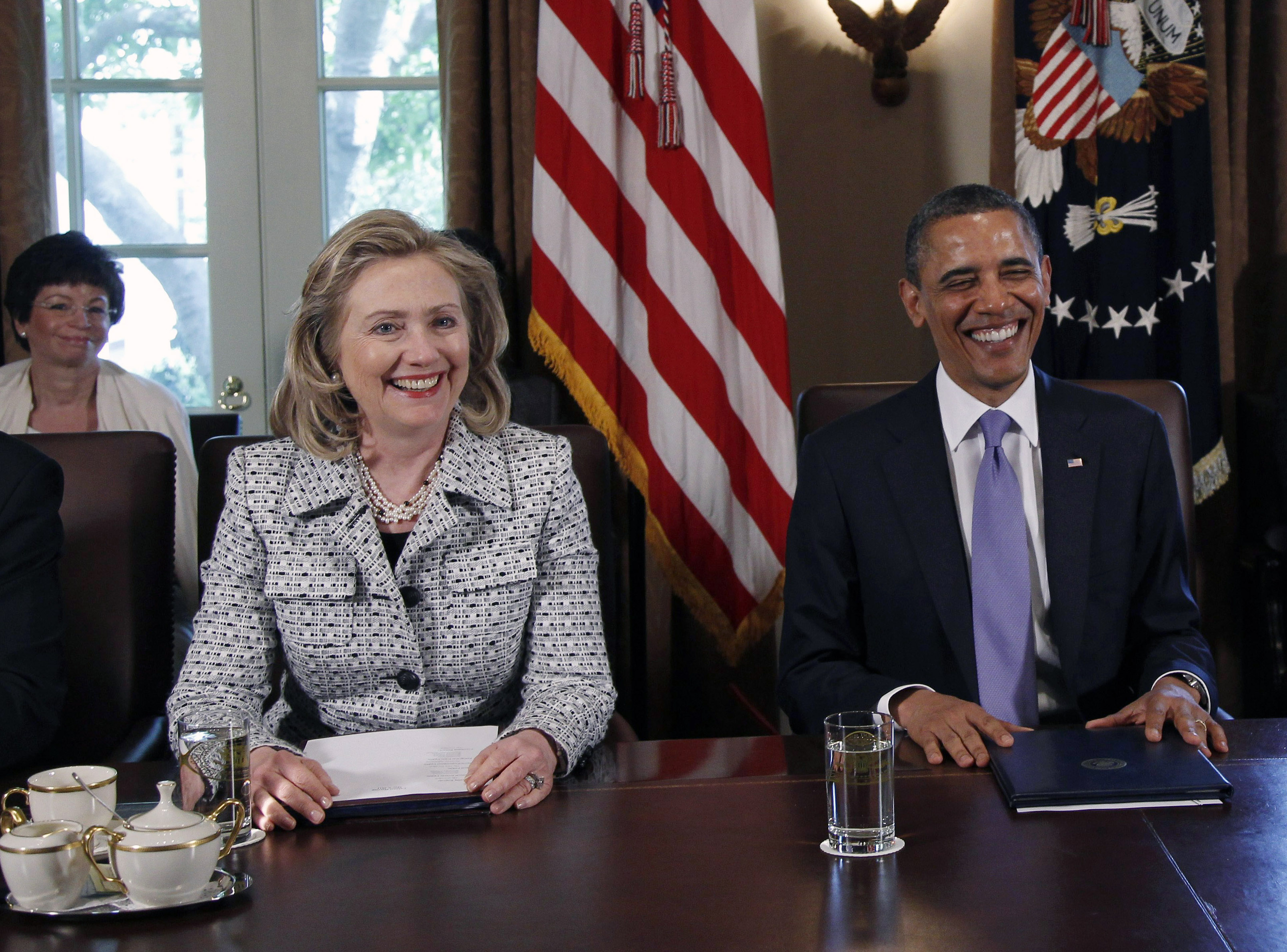 March 2011 President Barack Obama and then-Secretary of State Hillary Rodham Clinton attend a Cabinet meeting at  the White House in Washington on May 3, 2011.