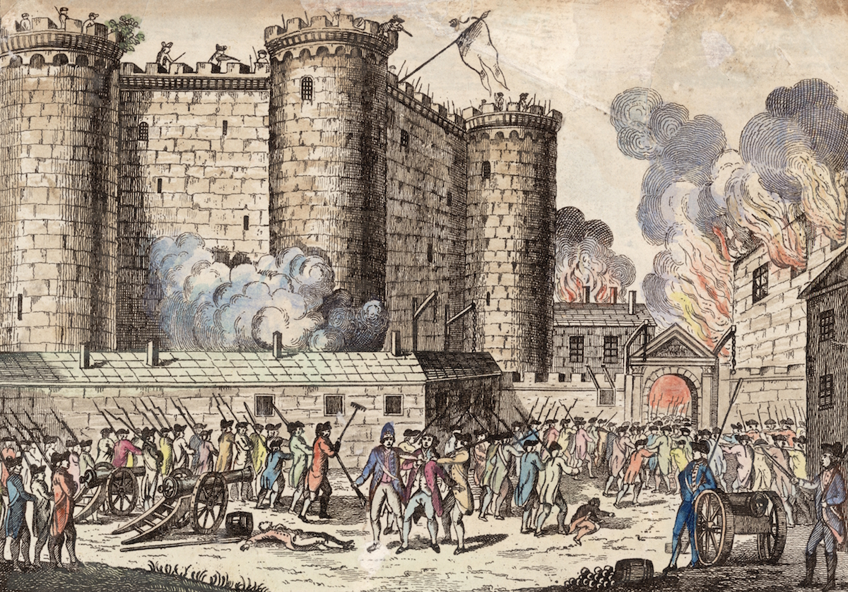 Illustration of the storming of the Bastille prison, in an event that has come to be seen as the start of the French Revolution, 14th July 1789.