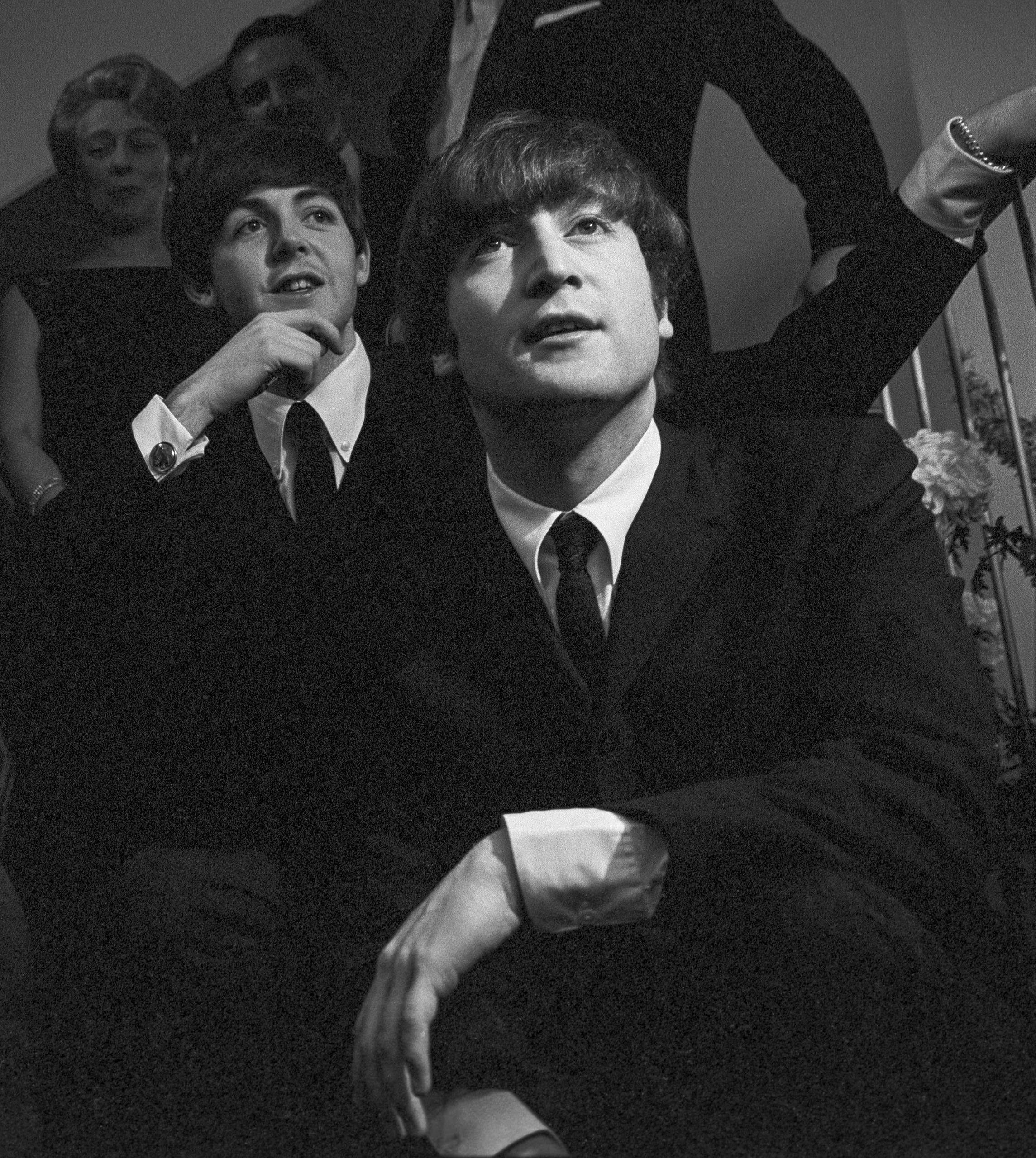 John Lennon and Paul McCartney at the British Embassy after their concert.