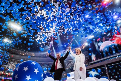 Democratic presidential nominee Hillary Clinton speaks at the Democratic National Convention in Philadelphia on July 28, 2016.