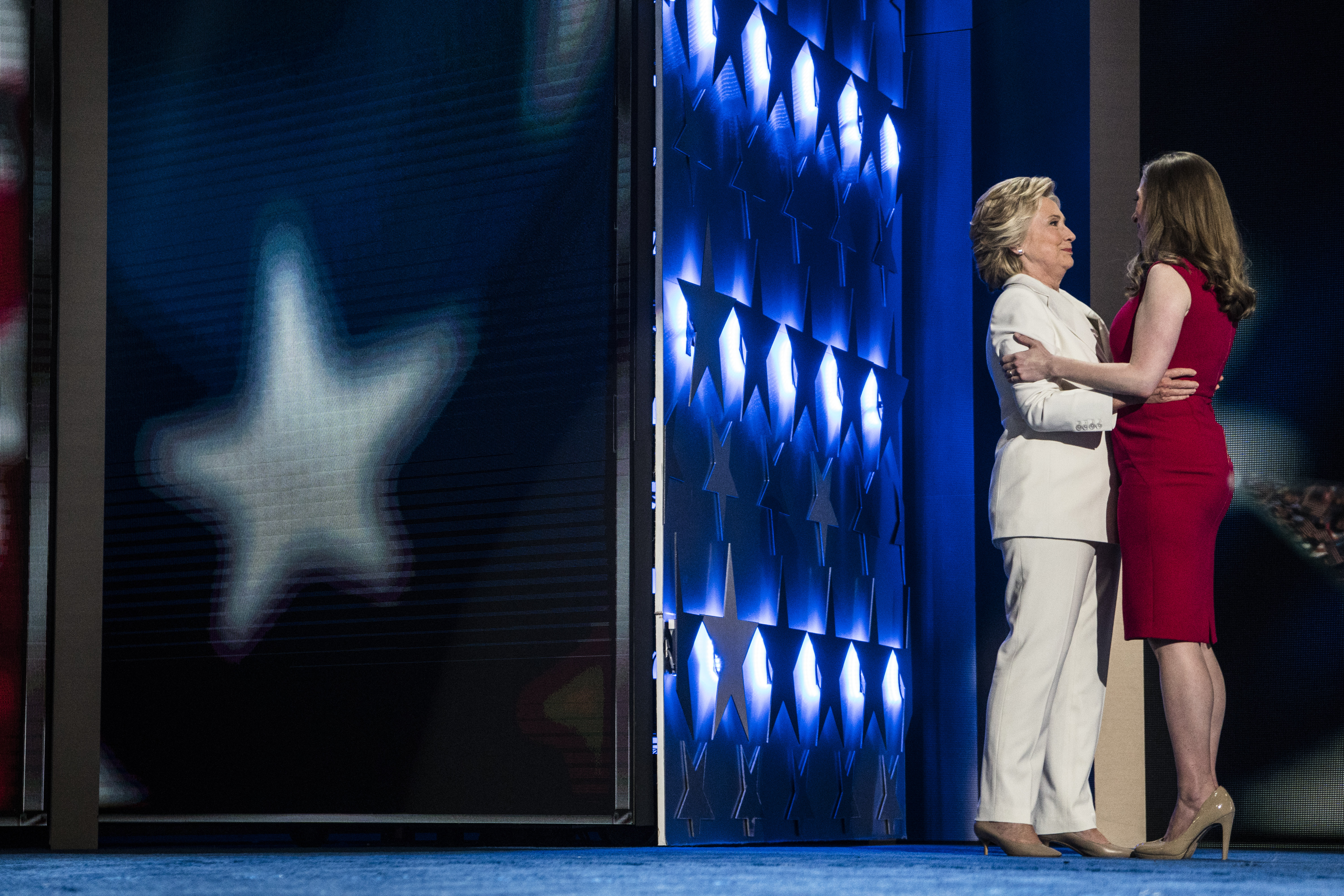 Democratic presidential nominee Hillary Clinton is introduced by her daughter Chelsea at the Democratic National Convention in Philadelphia on July 28, 2016.
