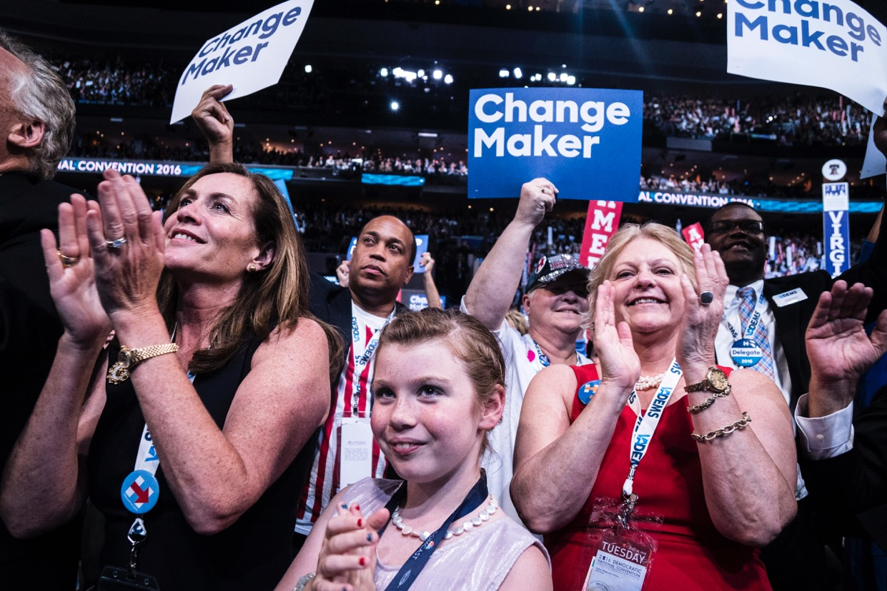 Supporters of Hillary Clinton cheer at the Democratic National Convention on Tuesday, July 26, 2016 in Philadelphia.
