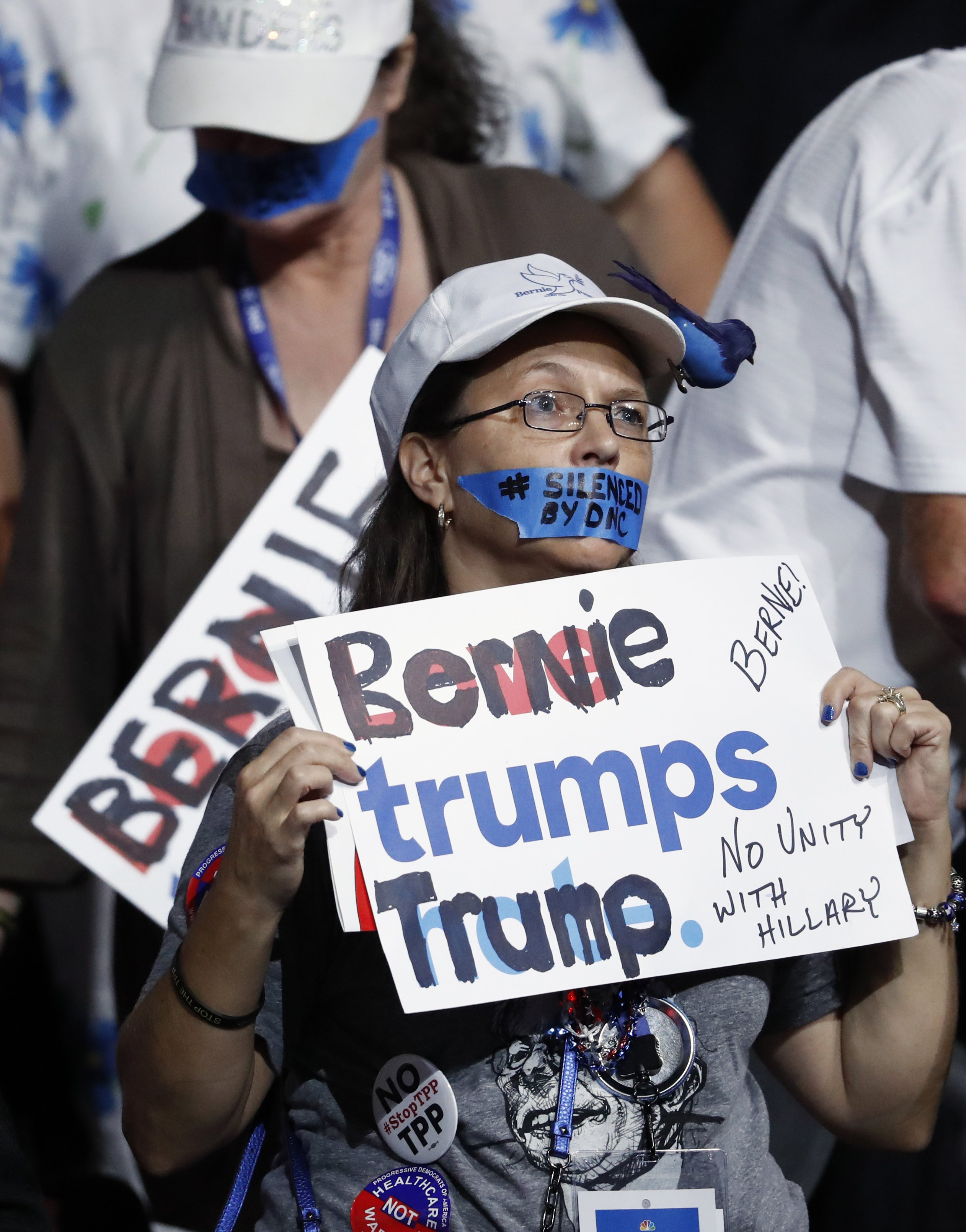 A supporter of former Democratic presidential candidate Sen. Bernie Sanders, I-Vt., protests during the first day of the Democratic National Convention in Philadelphia on July 25, 2016.